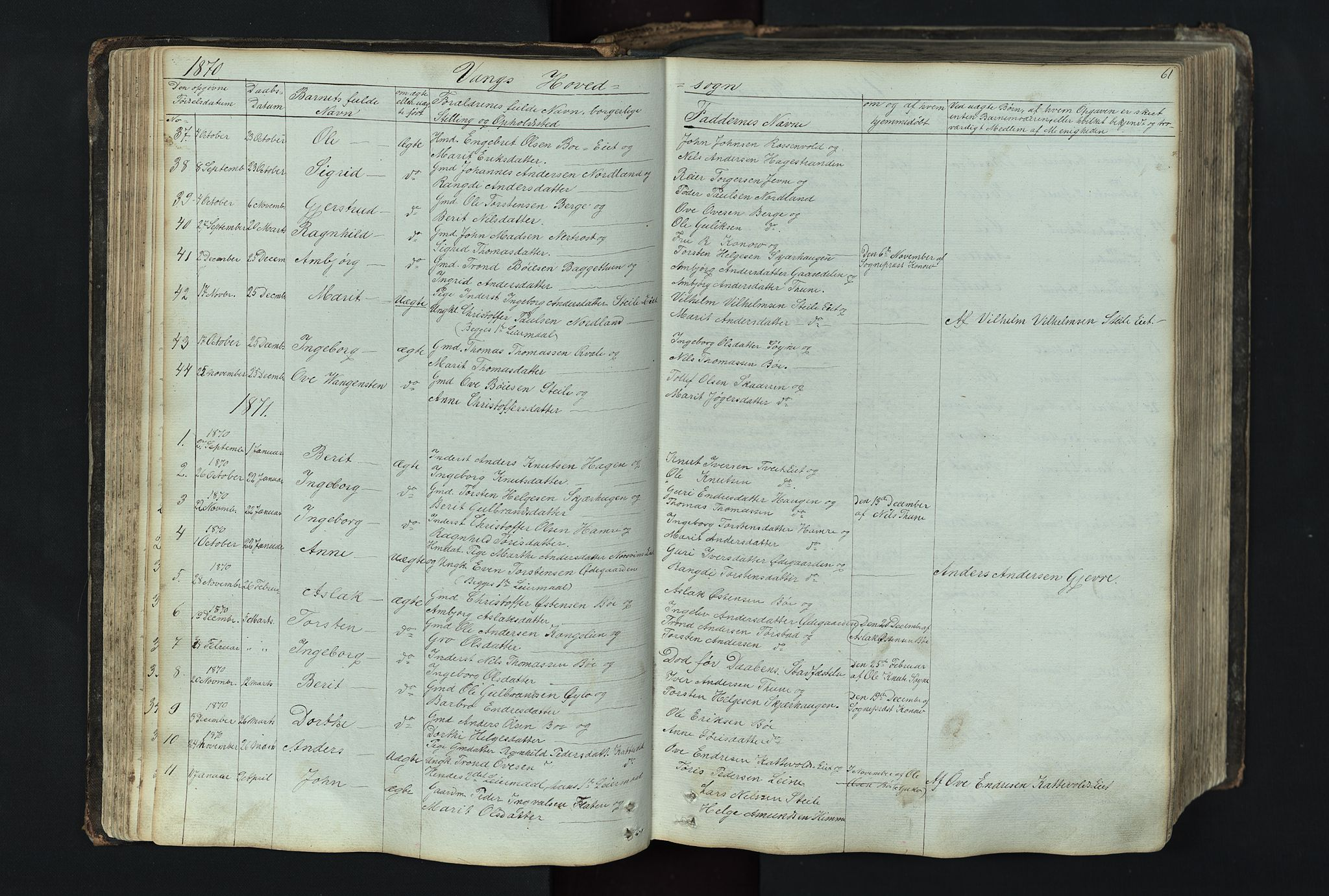 SAH, Vang prestekontor, Valdres, Klokkerbok nr. 4, 1835-1892, s. 61