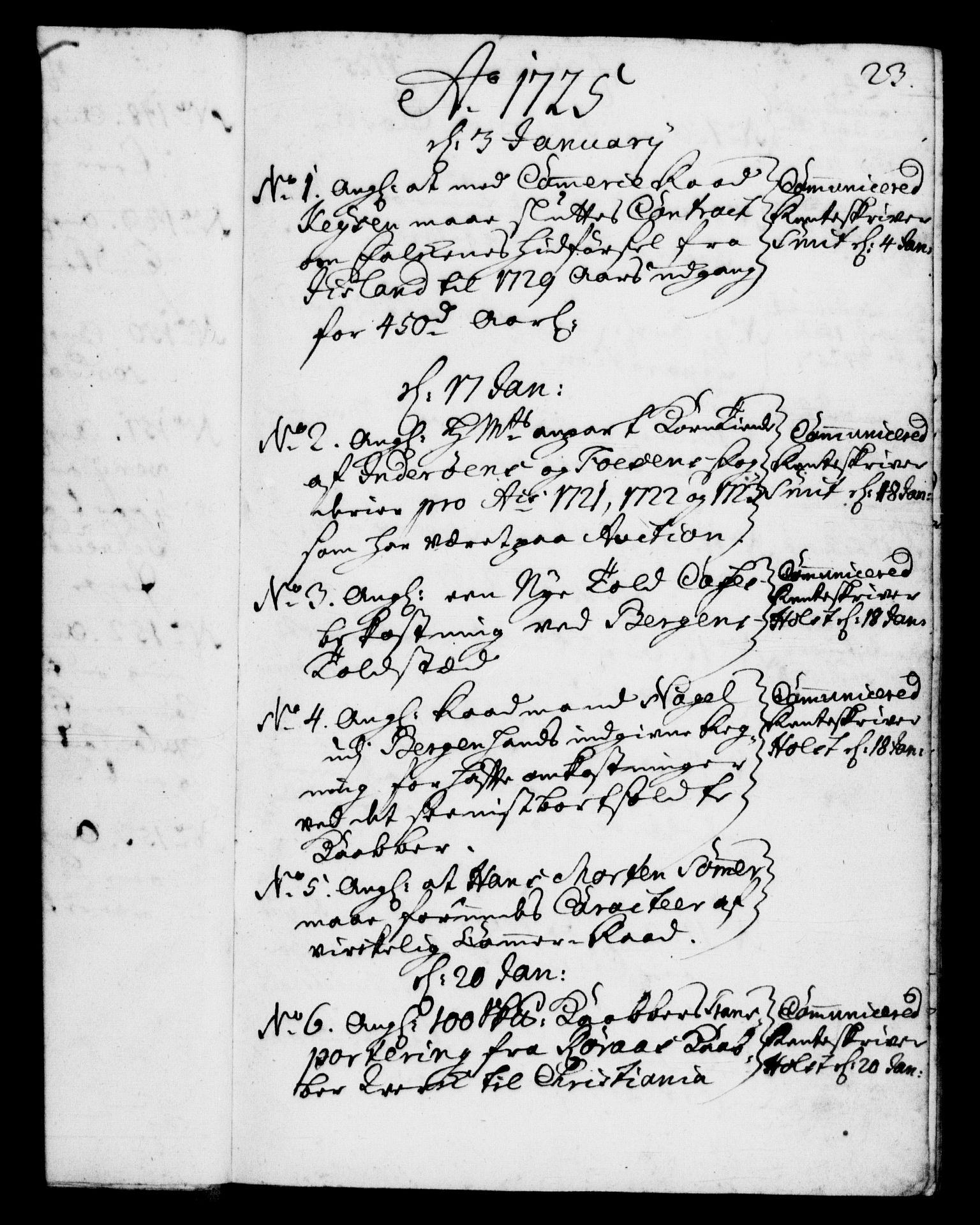 RA, Rentekammeret, Kammerkanselliet, G/Gf/Gfb/L0002: Register til norske relasjons- og resolusjonsprotokoller (merket RK 52.97), 1724-1728, s. 23