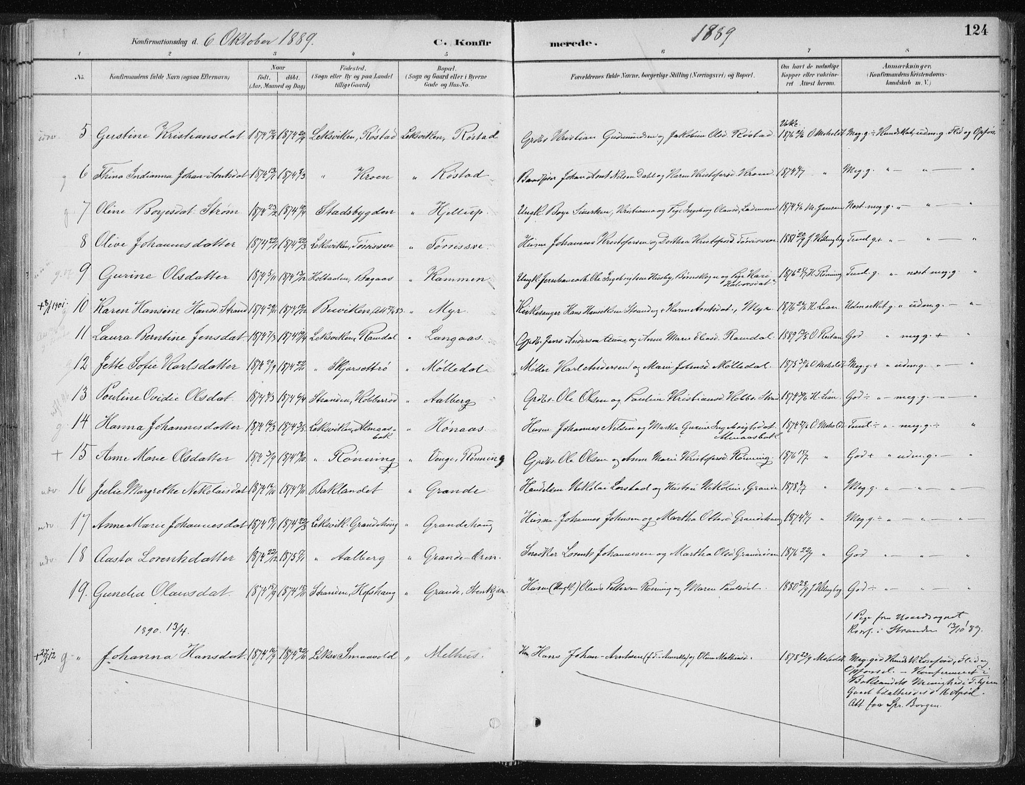 SAT, Ministerialprotokoller, klokkerbøker og fødselsregistre - Nord-Trøndelag, 701/L0010: Ministerialbok nr. 701A10, 1883-1899, s. 124