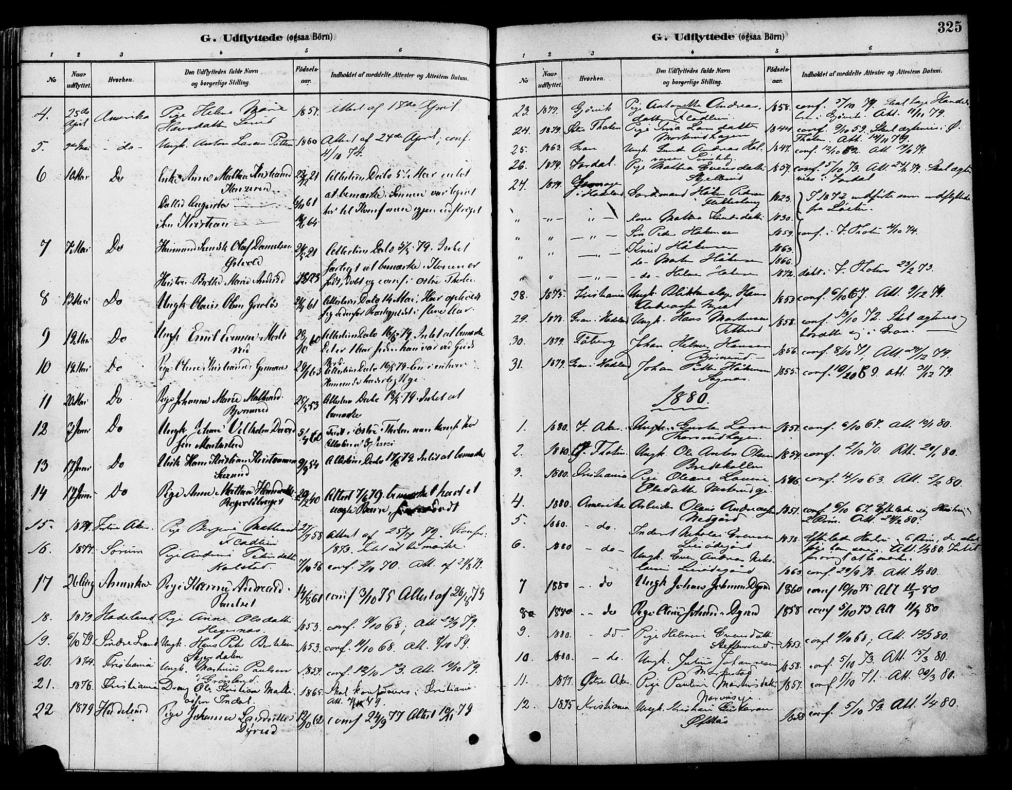 SAH, Vestre Toten prestekontor, Ministerialbok nr. 9, 1878-1894, s. 325
