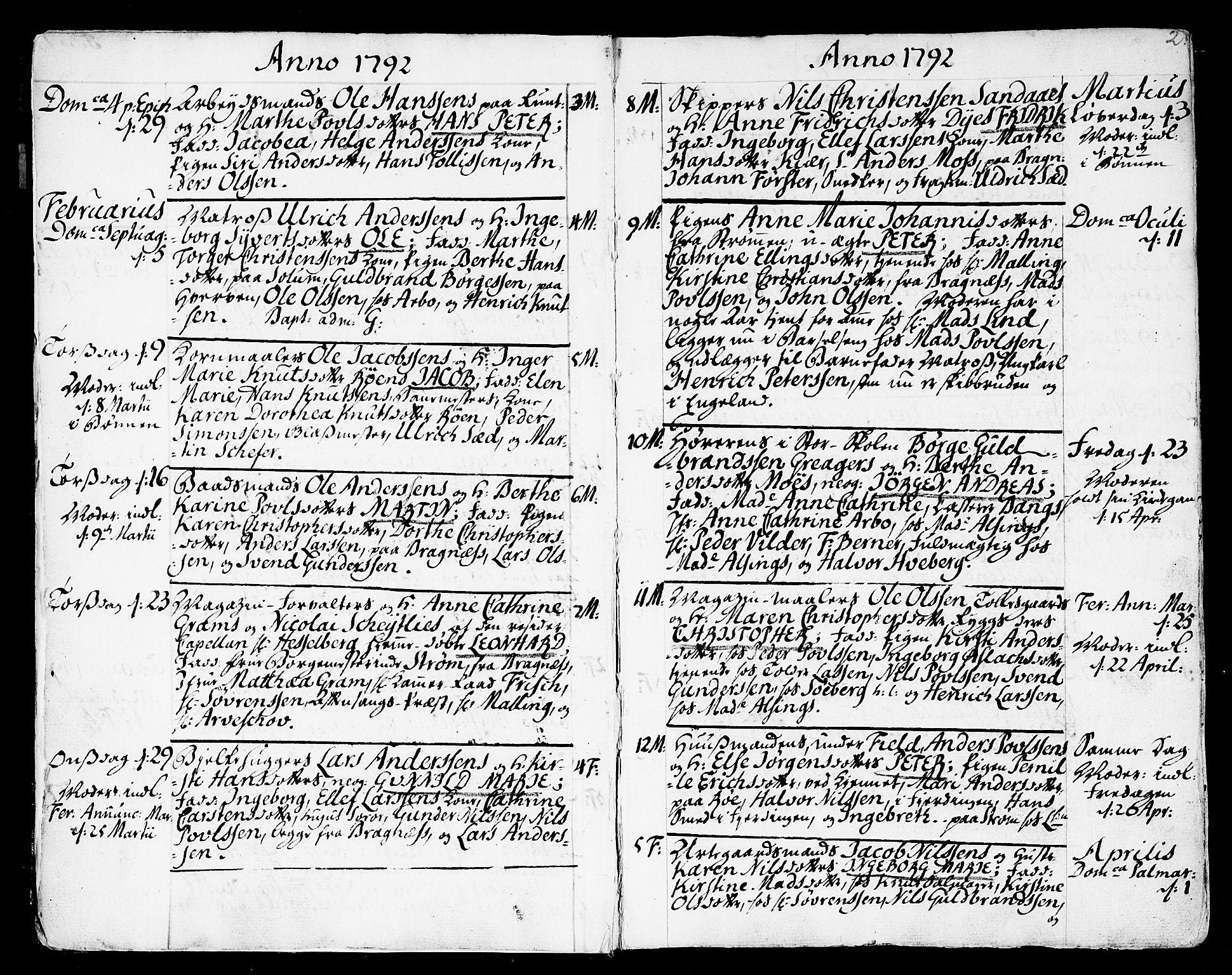SAKO, Strømsø kirkebøker, F/Fa/L0010: Ministerialbok nr. I 10, 1792-1822, s. 2