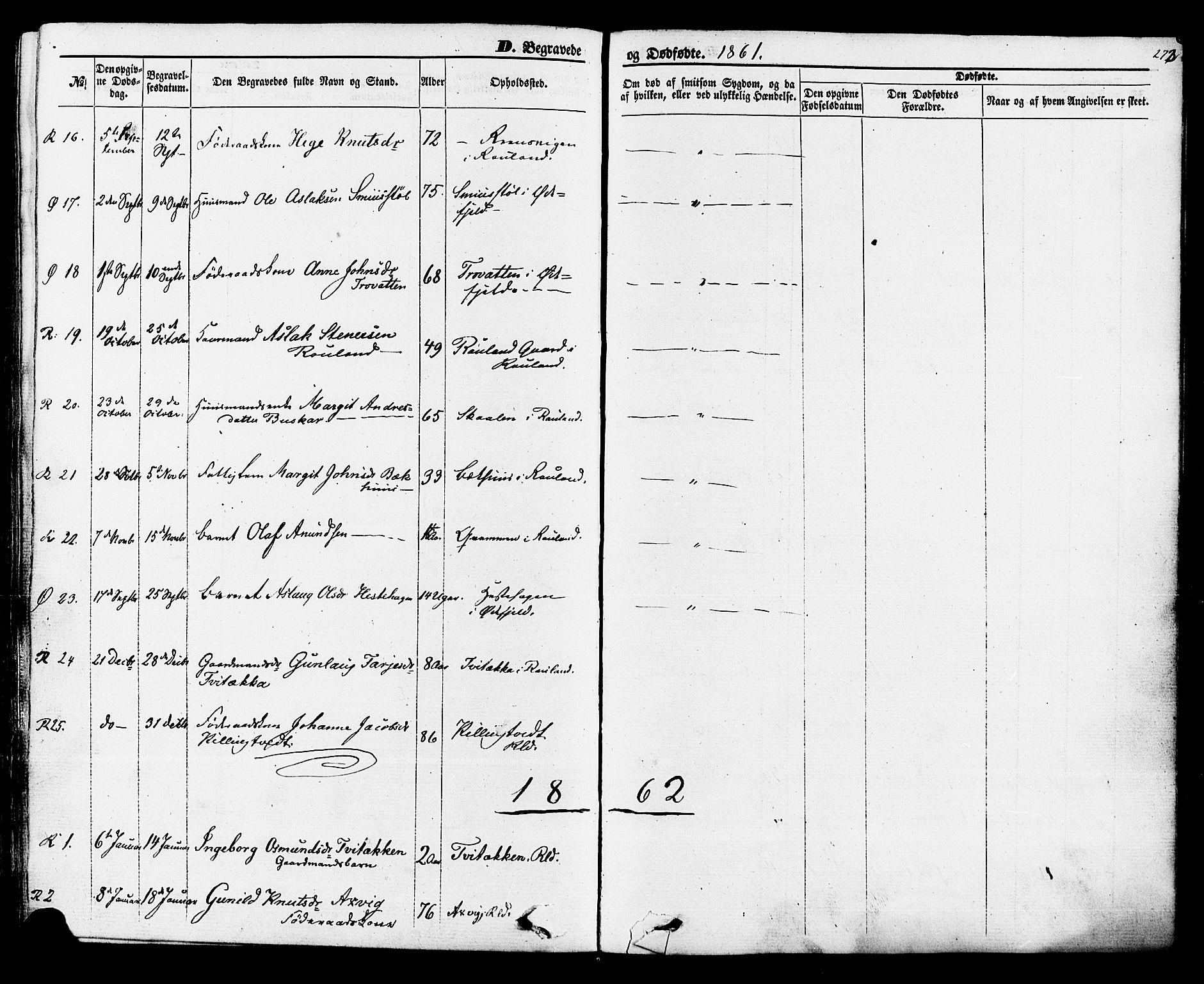 SAKO, Rauland kirkebøker, F/Fa/L0003: Ministerialbok nr. 3, 1859-1886, s. 273