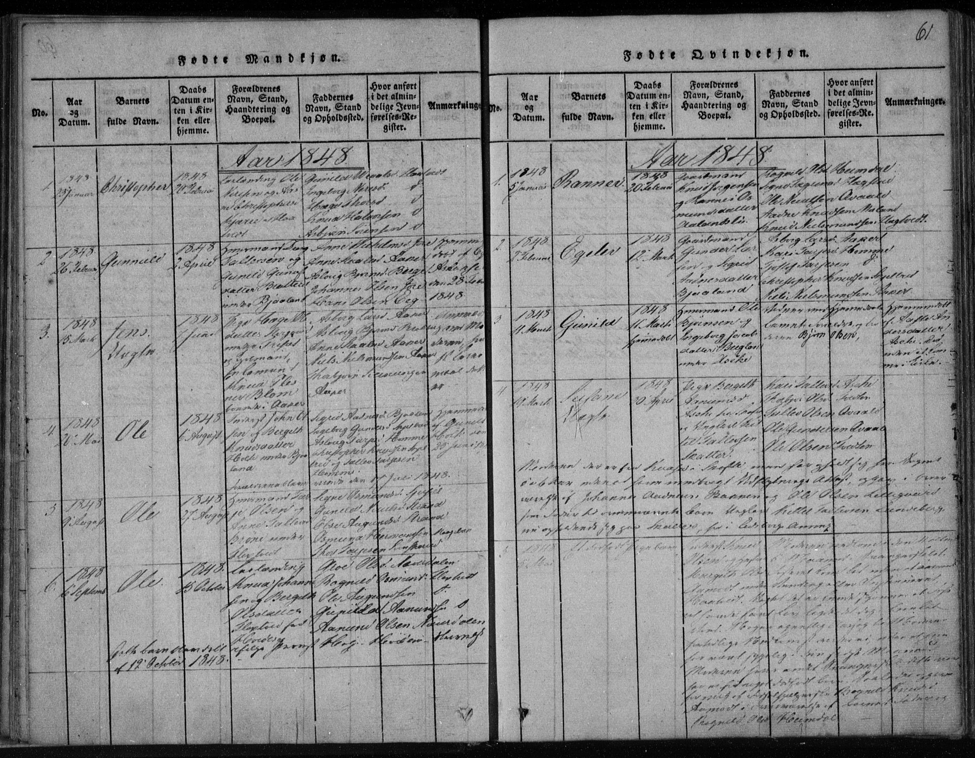 SAKO, Lårdal kirkebøker, F/Fa/L0005: Ministerialbok nr. I 5, 1815-1860, s. 61