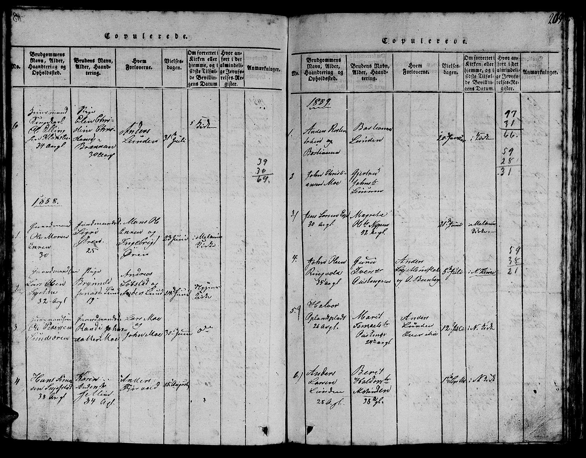 SAT, Ministerialprotokoller, klokkerbøker og fødselsregistre - Sør-Trøndelag, 613/L0393: Klokkerbok nr. 613C01, 1816-1886, s. 209