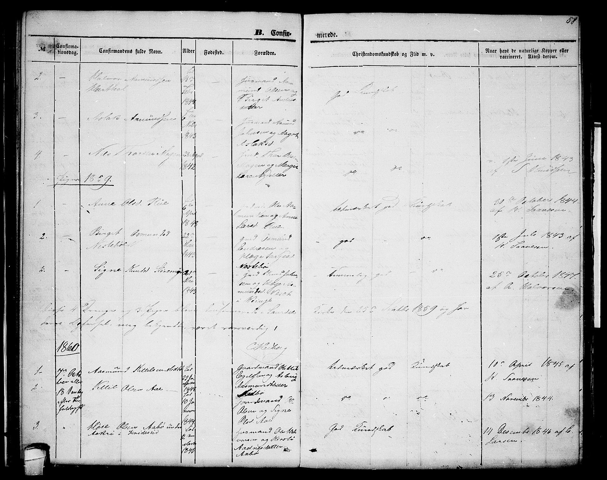 SAKO, Lårdal kirkebøker, G/Gc/L0002: Klokkerbok nr. III 2, 1852-1877, s. 58