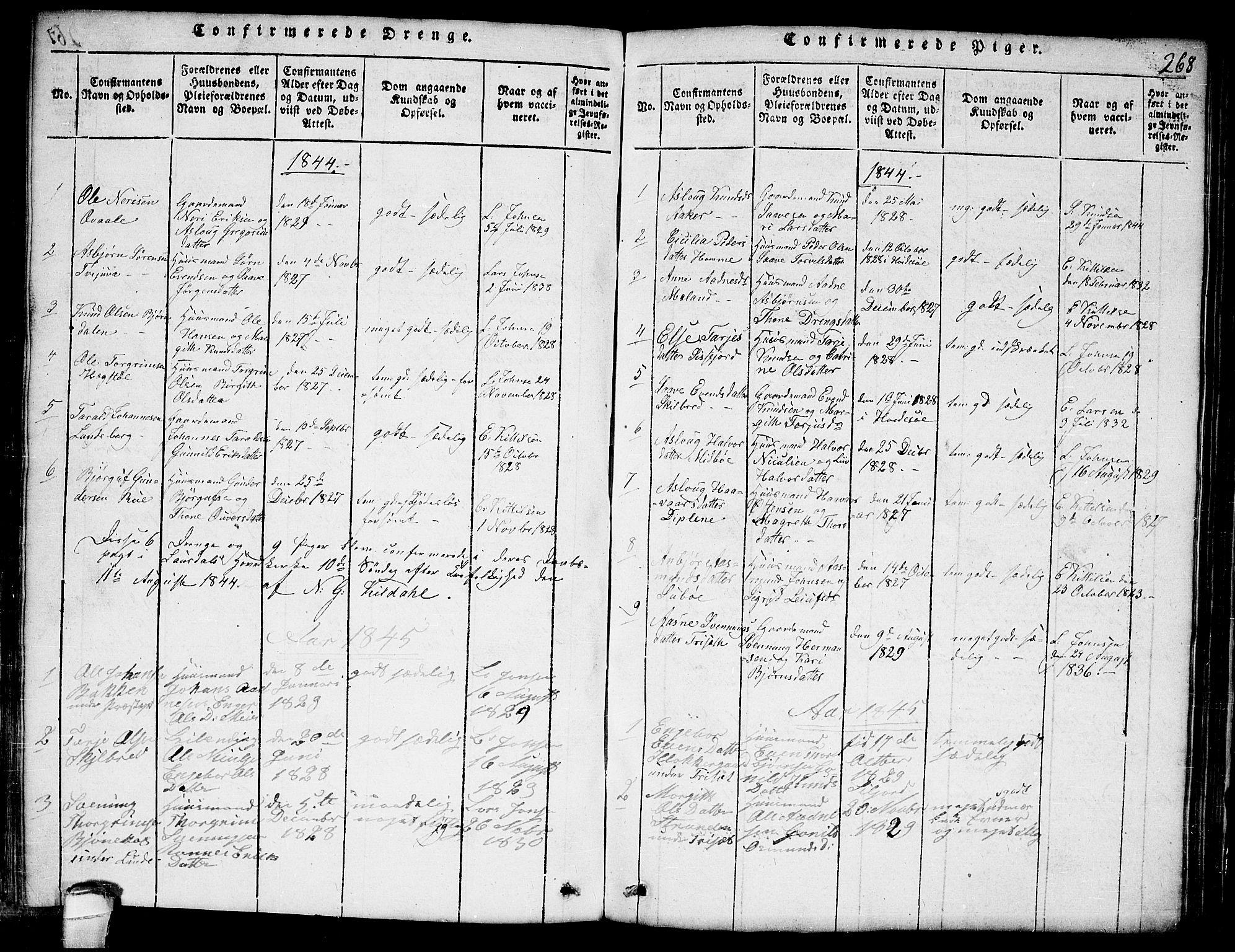 SAKO, Lårdal kirkebøker, G/Ga/L0001: Klokkerbok nr. I 1, 1815-1861, s. 268
