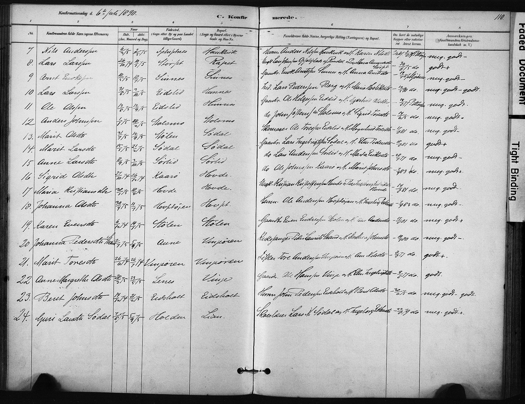 SAT, Ministerialprotokoller, klokkerbøker og fødselsregistre - Sør-Trøndelag, 631/L0512: Ministerialbok nr. 631A01, 1879-1912, s. 110