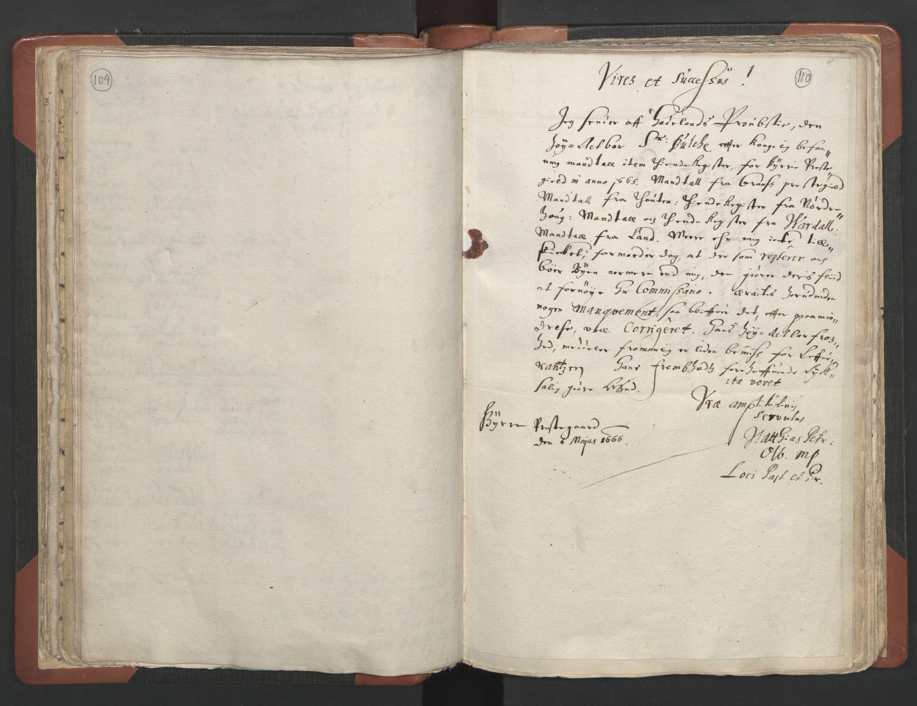 RA, Sogneprestenes manntall 1664-1666, nr. 7: Hadeland prosti, 1664-1666, s. 109-110