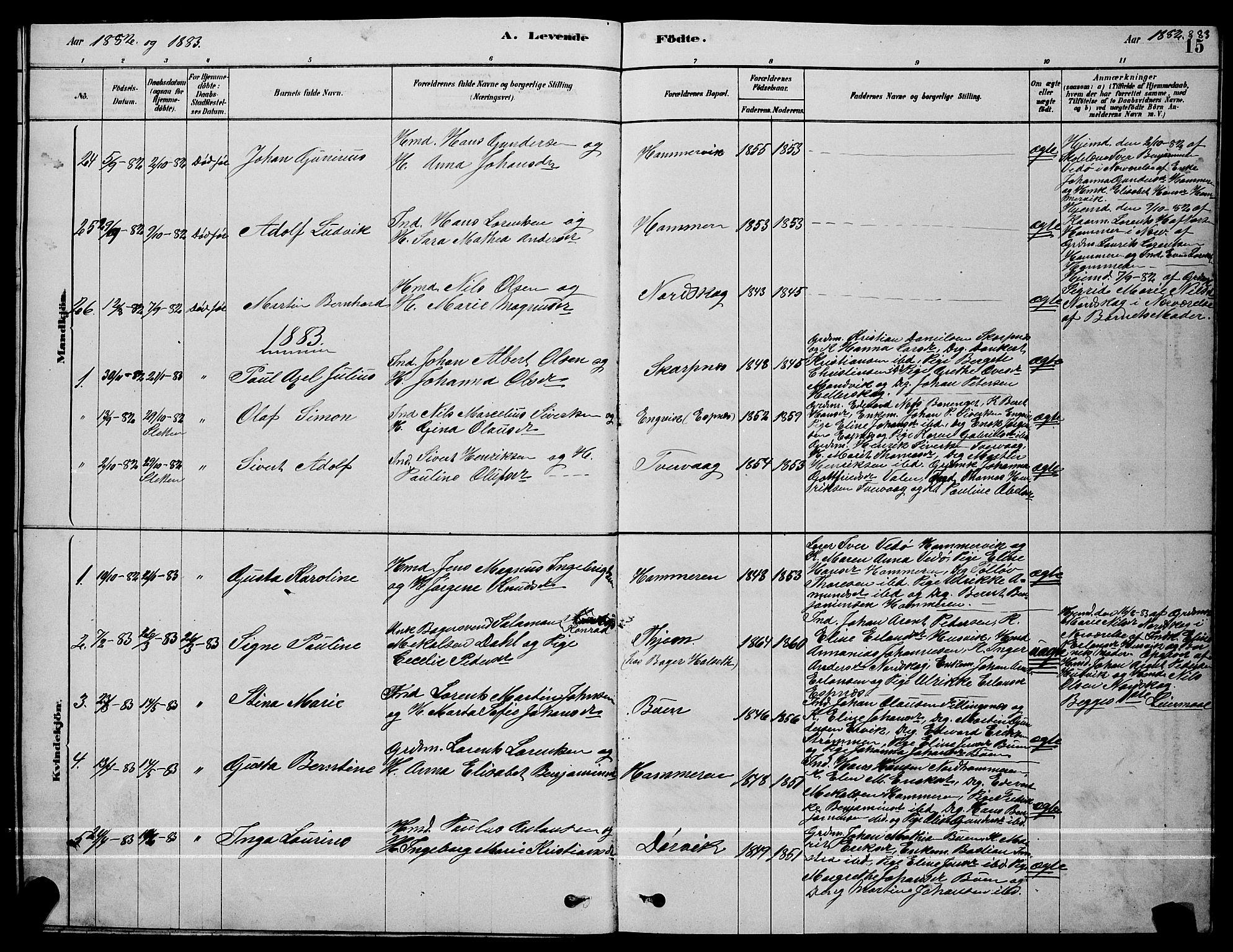 SAT, Ministerialprotokoller, klokkerbøker og fødselsregistre - Sør-Trøndelag, 641/L0597: Klokkerbok nr. 641C01, 1878-1893, s. 15