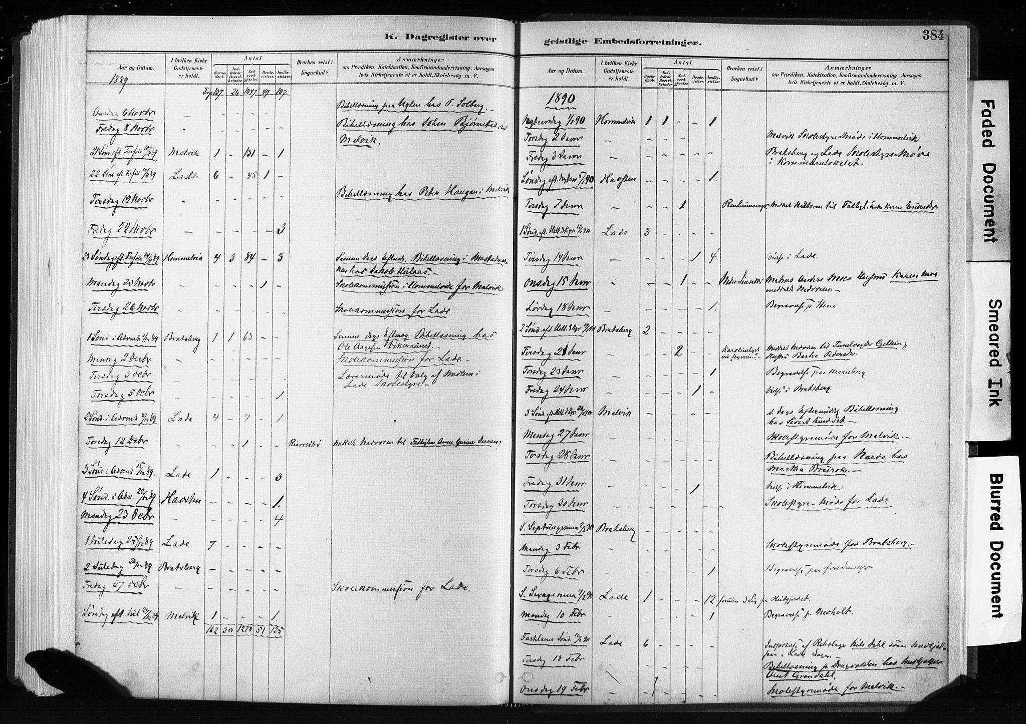 SAT, Ministerialprotokoller, klokkerbøker og fødselsregistre - Sør-Trøndelag, 606/L0300: Ministerialbok nr. 606A15, 1886-1893, s. 384