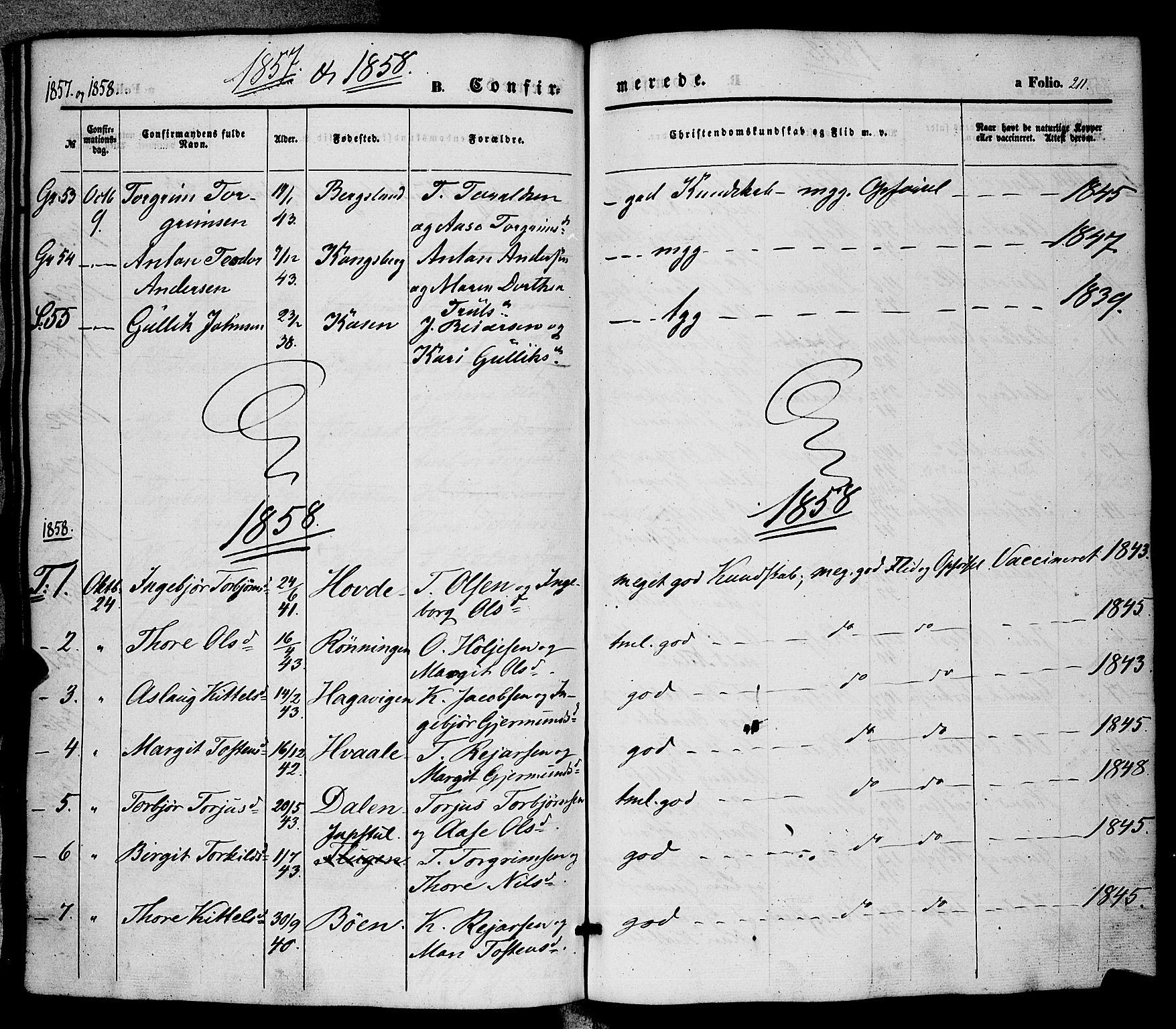 SAKO, Hjartdal kirkebøker, F/Fa/L0008: Ministerialbok nr. I 8, 1844-1859, s. 211