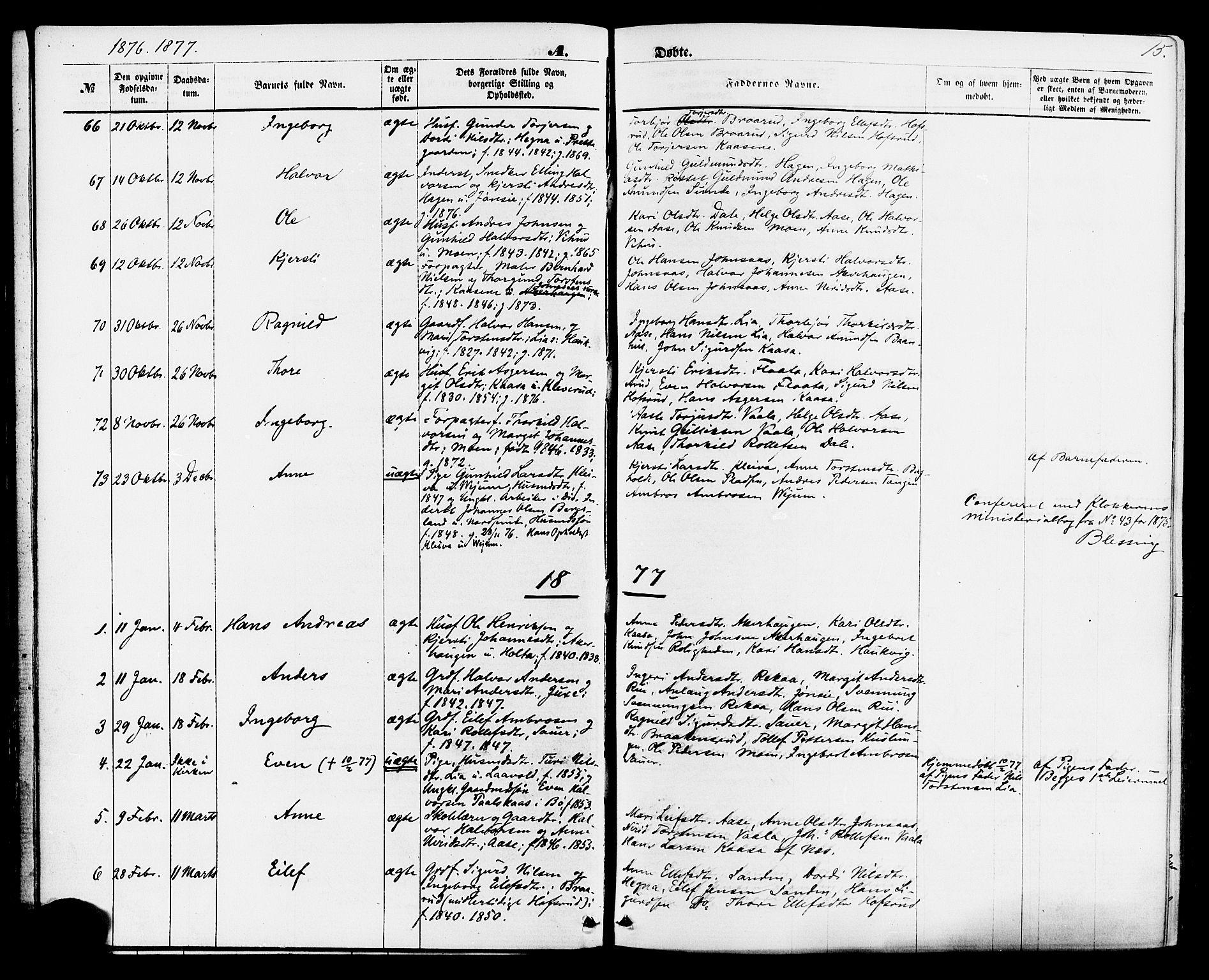 SAKO, Sauherad kirkebøker, F/Fa/L0008: Ministerialbok nr. I 8, 1873-1886, s. 15