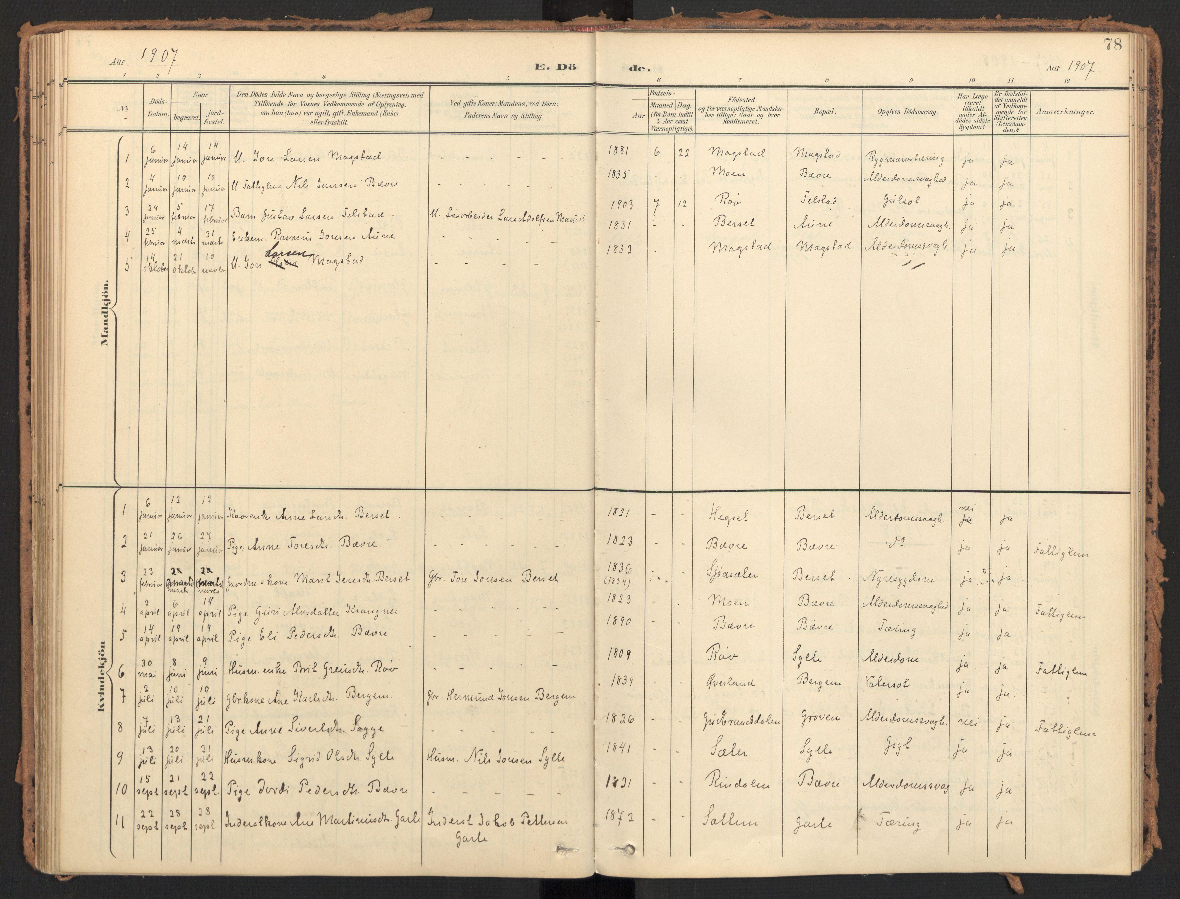 SAT, Ministerialprotokoller, klokkerbøker og fødselsregistre - Møre og Romsdal, 595/L1048: Ministerialbok nr. 595A10, 1900-1917, s. 78