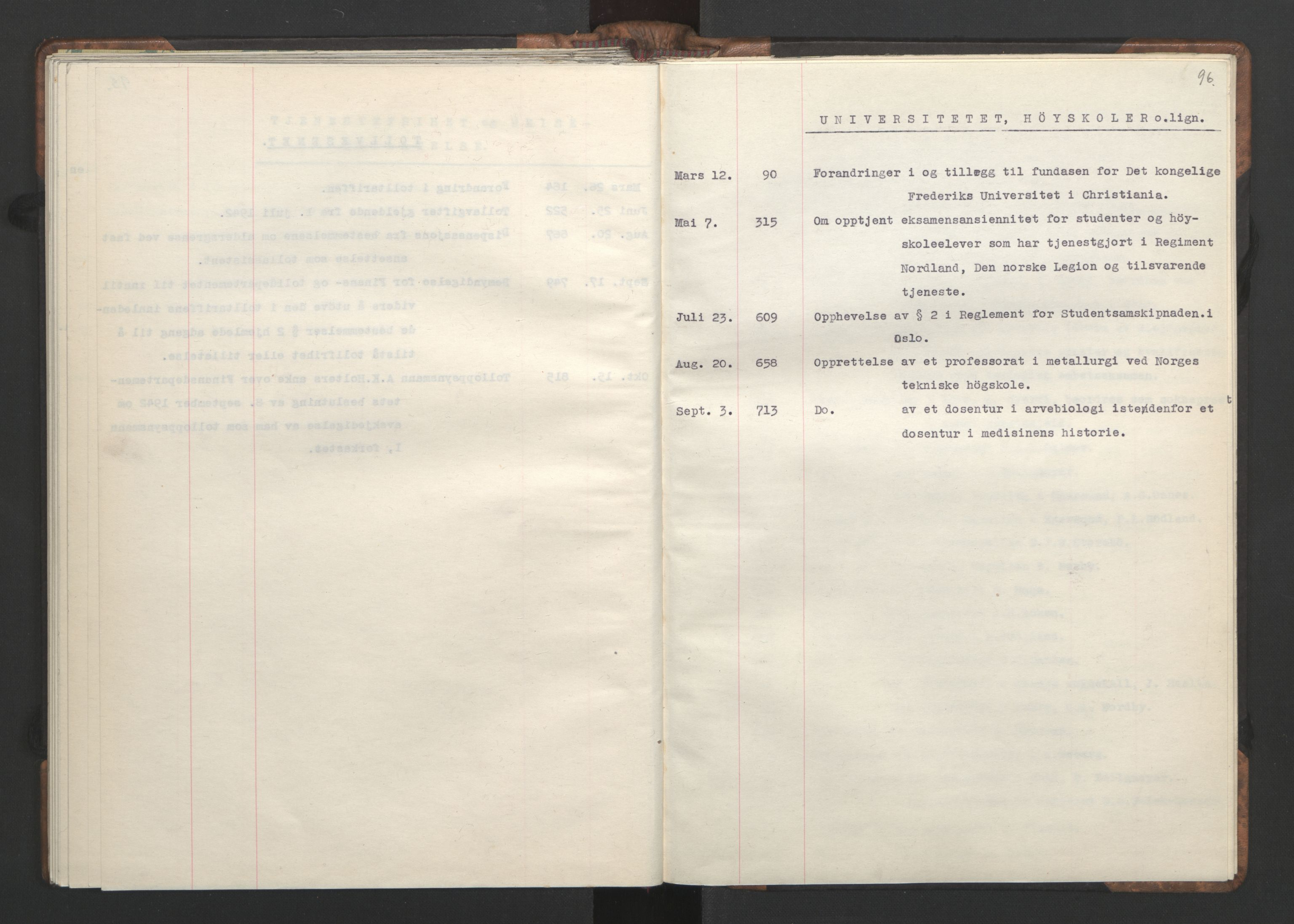 RA, NS-administrasjonen 1940-1945 (Statsrådsekretariatet, de kommisariske statsråder mm), D/Da/L0002: Register (RA j.nr. 985/1943, tilgangsnr. 17/1943), 1942, s. 95b-96a