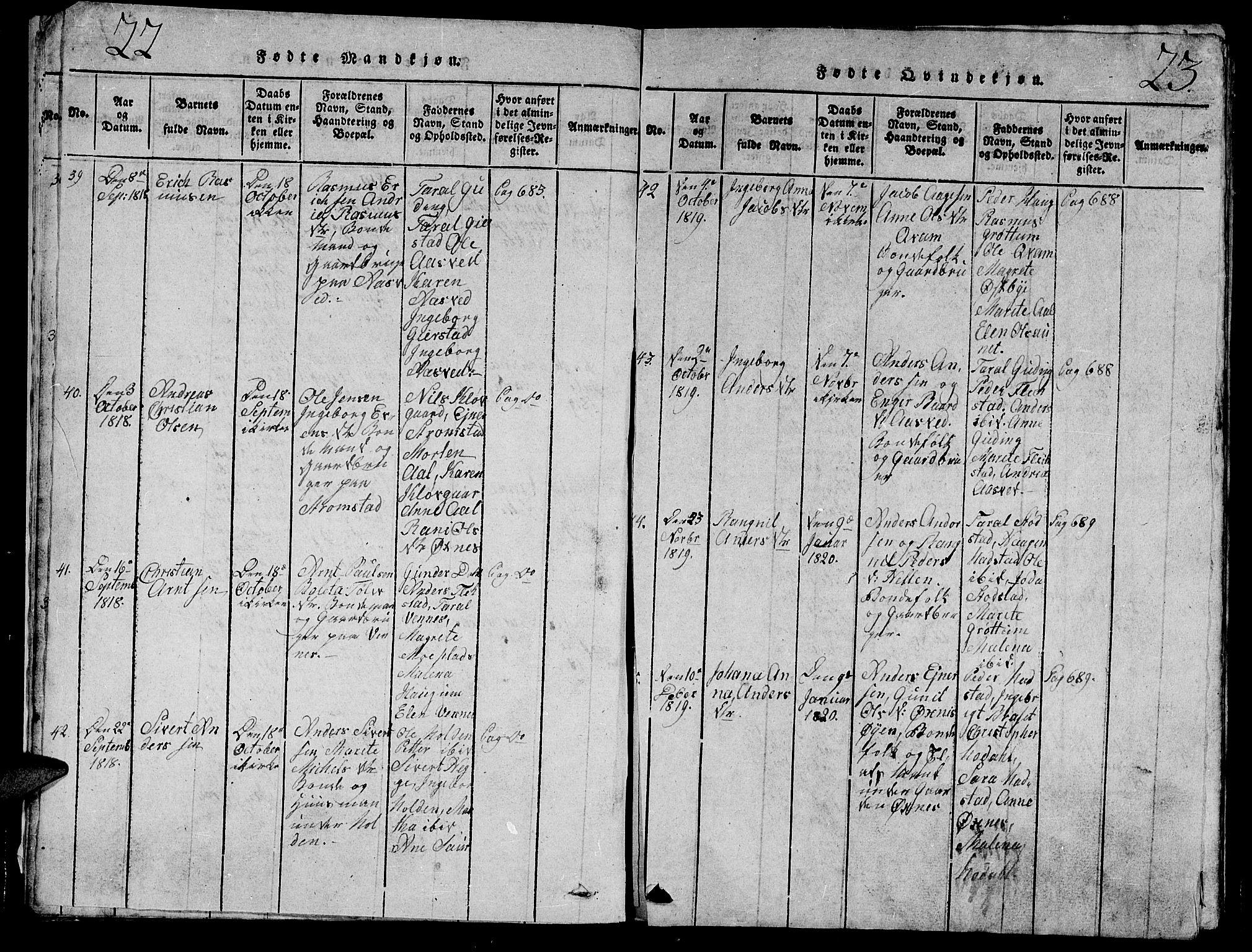 SAT, Ministerialprotokoller, klokkerbøker og fødselsregistre - Nord-Trøndelag, 747/L0459: Klokkerbok nr. 747C01, 1816-1842, s. 22-23