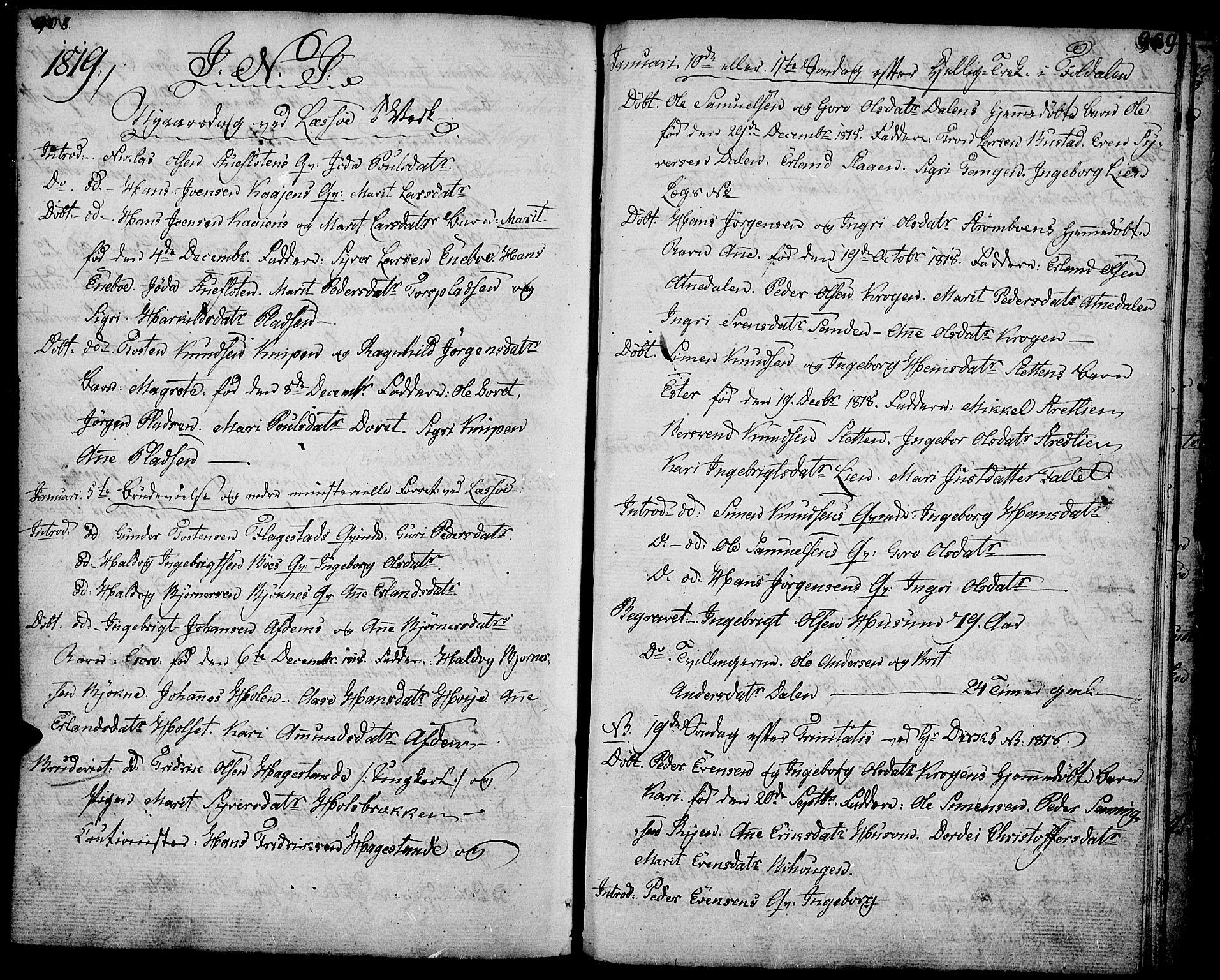 SAH, Lesja prestekontor, Ministerialbok nr. 3, 1777-1819, s. 908-909