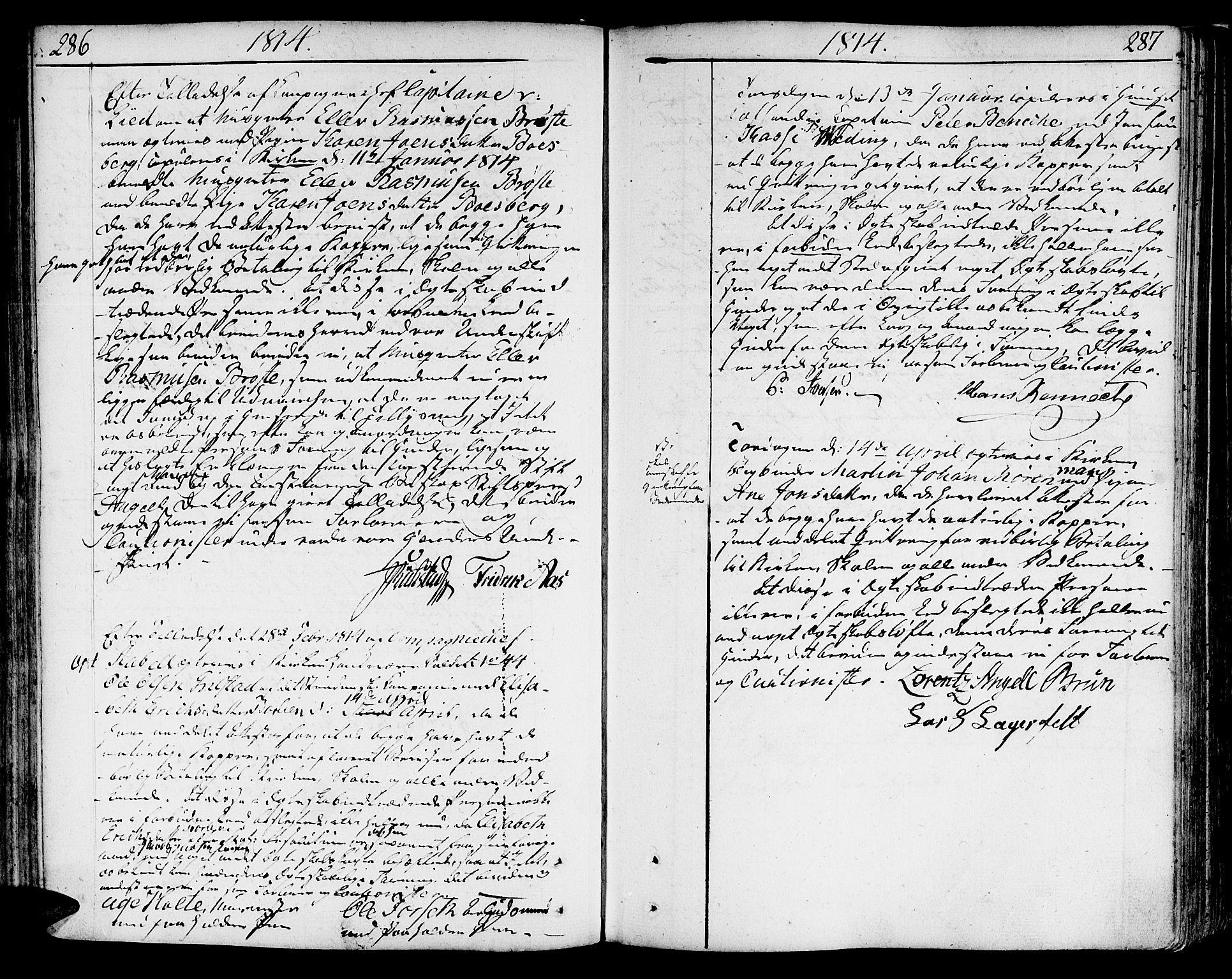SAT, Ministerialprotokoller, klokkerbøker og fødselsregistre - Sør-Trøndelag, 602/L0105: Ministerialbok nr. 602A03, 1774-1814, s. 286-287