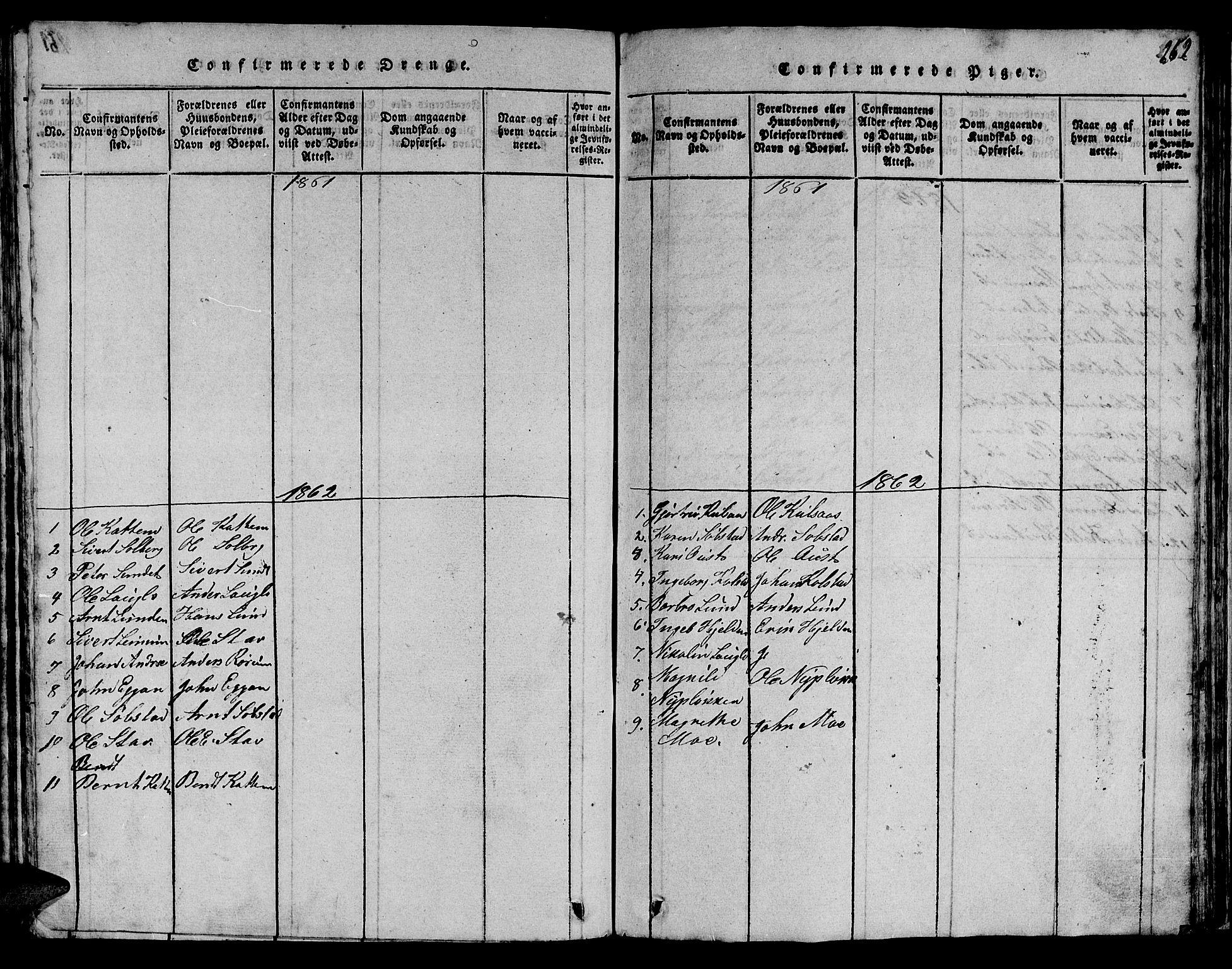 SAT, Ministerialprotokoller, klokkerbøker og fødselsregistre - Sør-Trøndelag, 613/L0393: Klokkerbok nr. 613C01, 1816-1886, s. 262