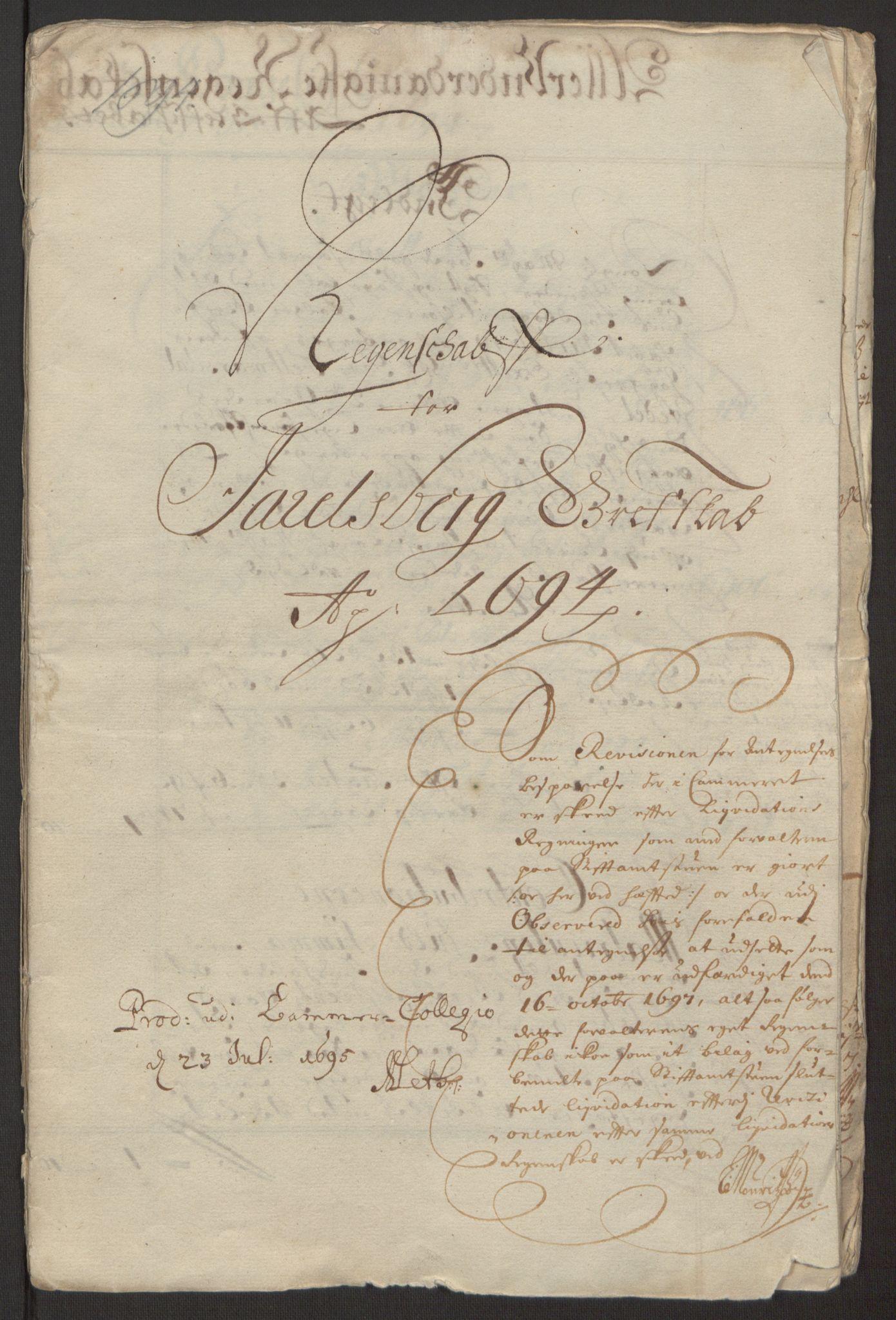 RA, Rentekammeret inntil 1814, Reviderte regnskaper, Fogderegnskap, R32/L1867: Fogderegnskap Jarlsberg grevskap, 1694-1696, s. 3