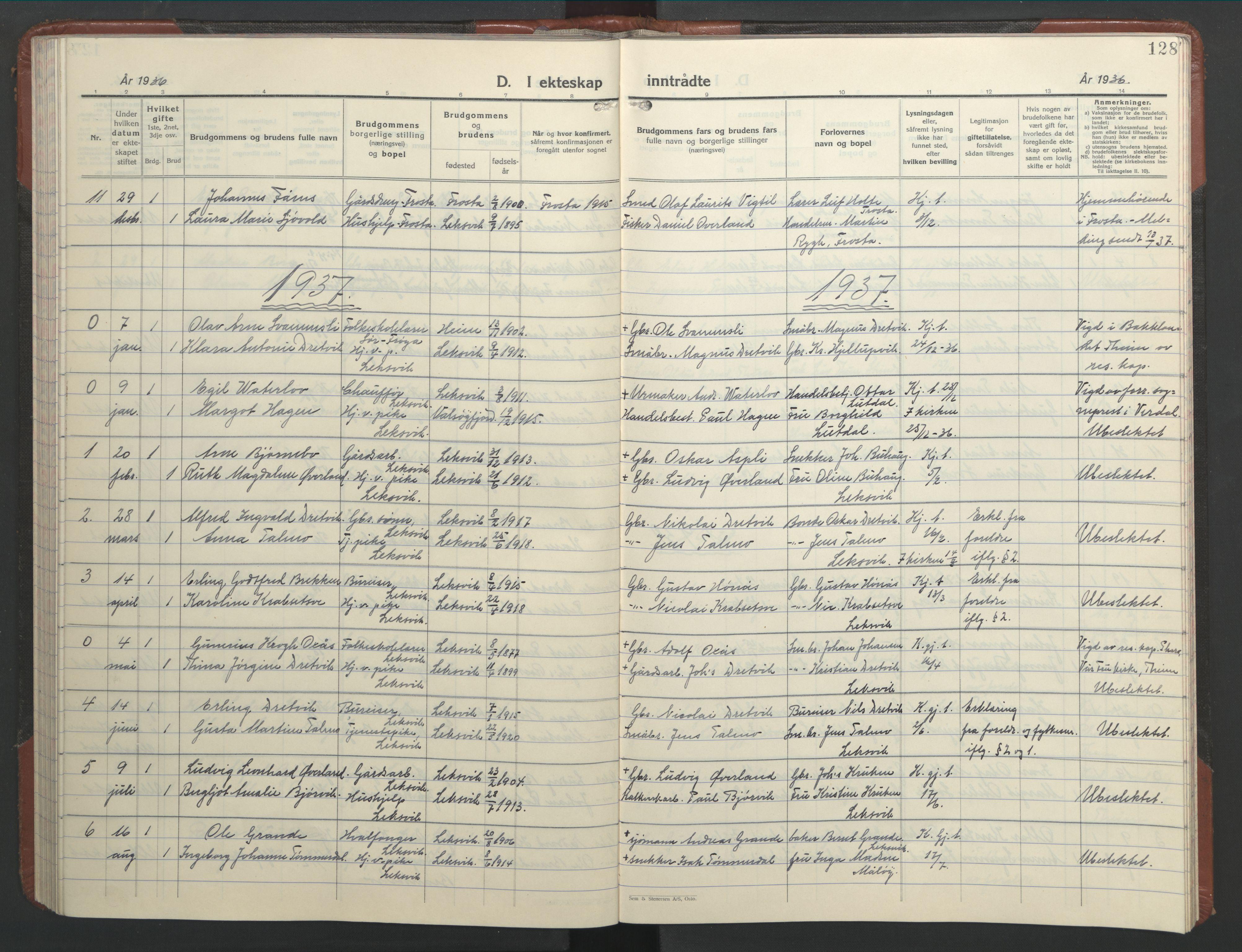 SAT, Ministerialprotokoller, klokkerbøker og fødselsregistre - Nord-Trøndelag, 701/L0019: Klokkerbok nr. 701C03, 1930-1953, s. 128
