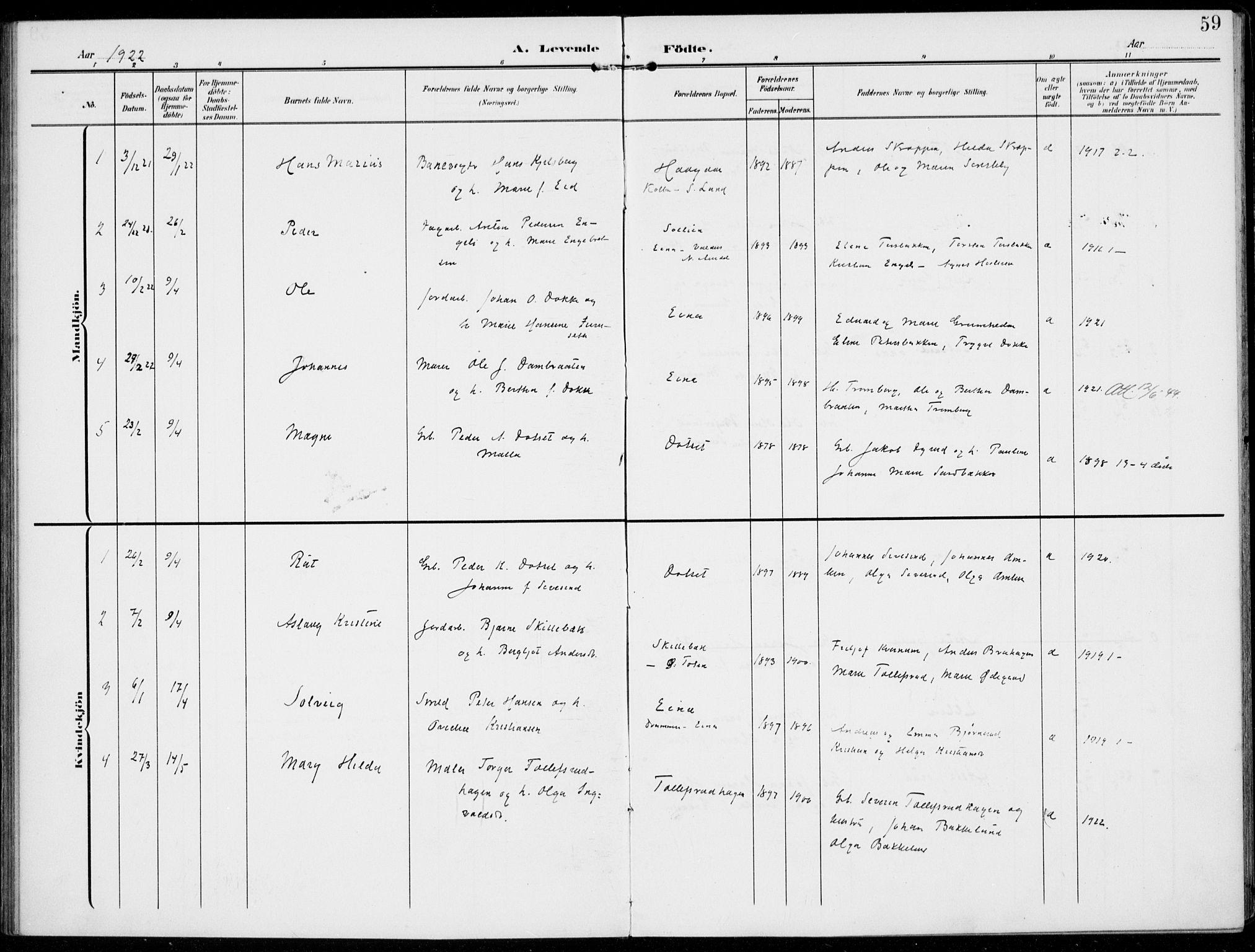 SAH, Kolbu prestekontor, Ministerialbok nr. 1, 1907-1923, s. 59