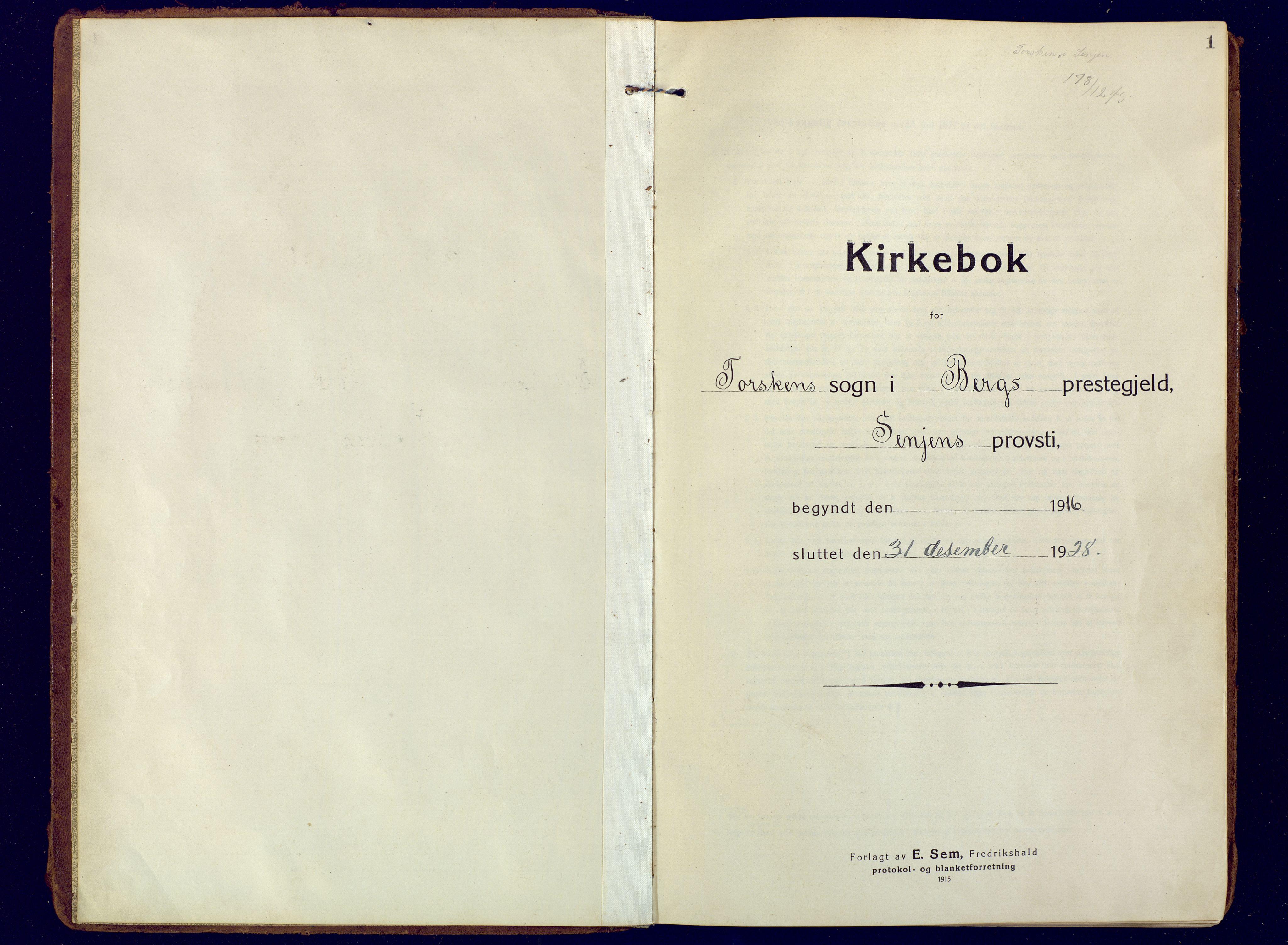 SATØ, Mefjord/Berg sokneprestkontor, G/Ga/Gaa: Ministerialbok nr. 10, 1916-1928, s. 1