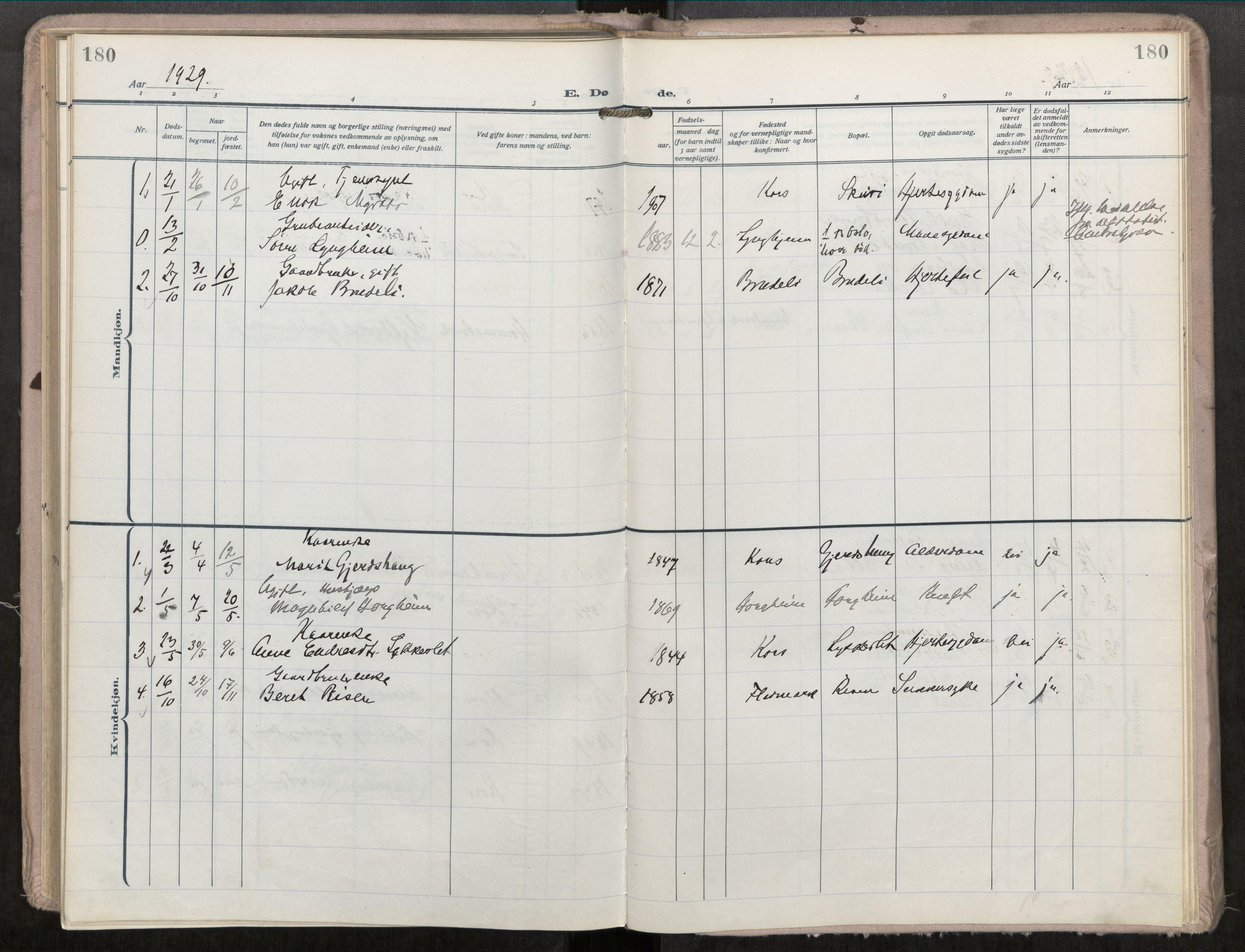 SAT, Grytten sokneprestkontor, Ministerialbok nr. 546A04, 1919-1956, s. 180