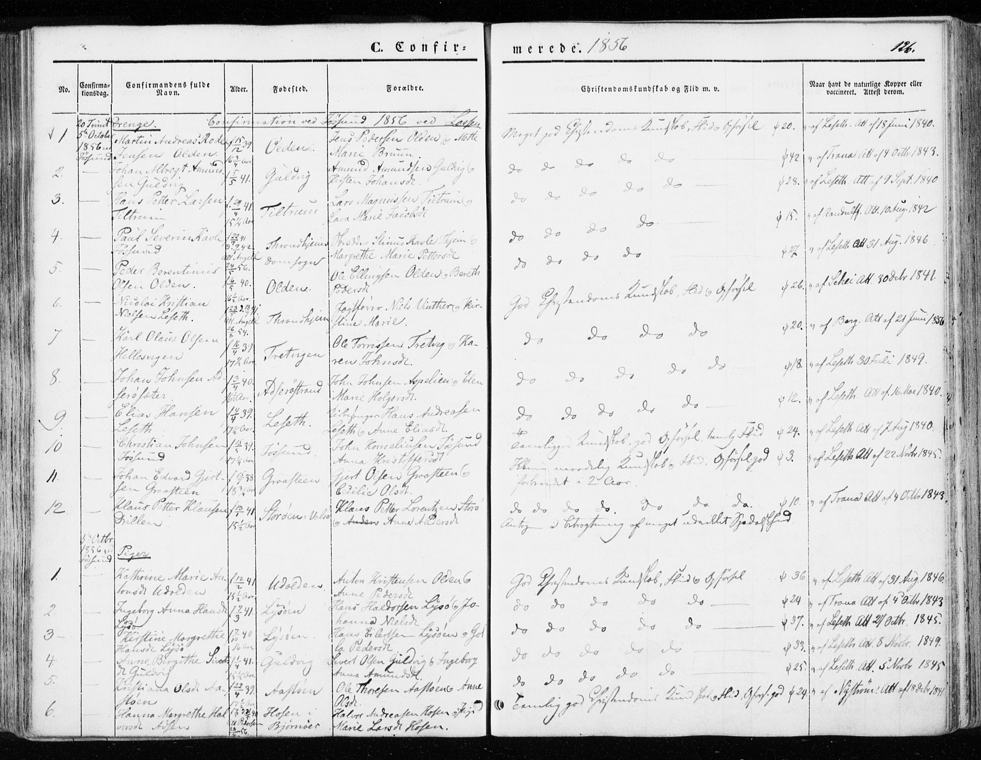SAT, Ministerialprotokoller, klokkerbøker og fødselsregistre - Sør-Trøndelag, 655/L0677: Ministerialbok nr. 655A06, 1847-1860, s. 126