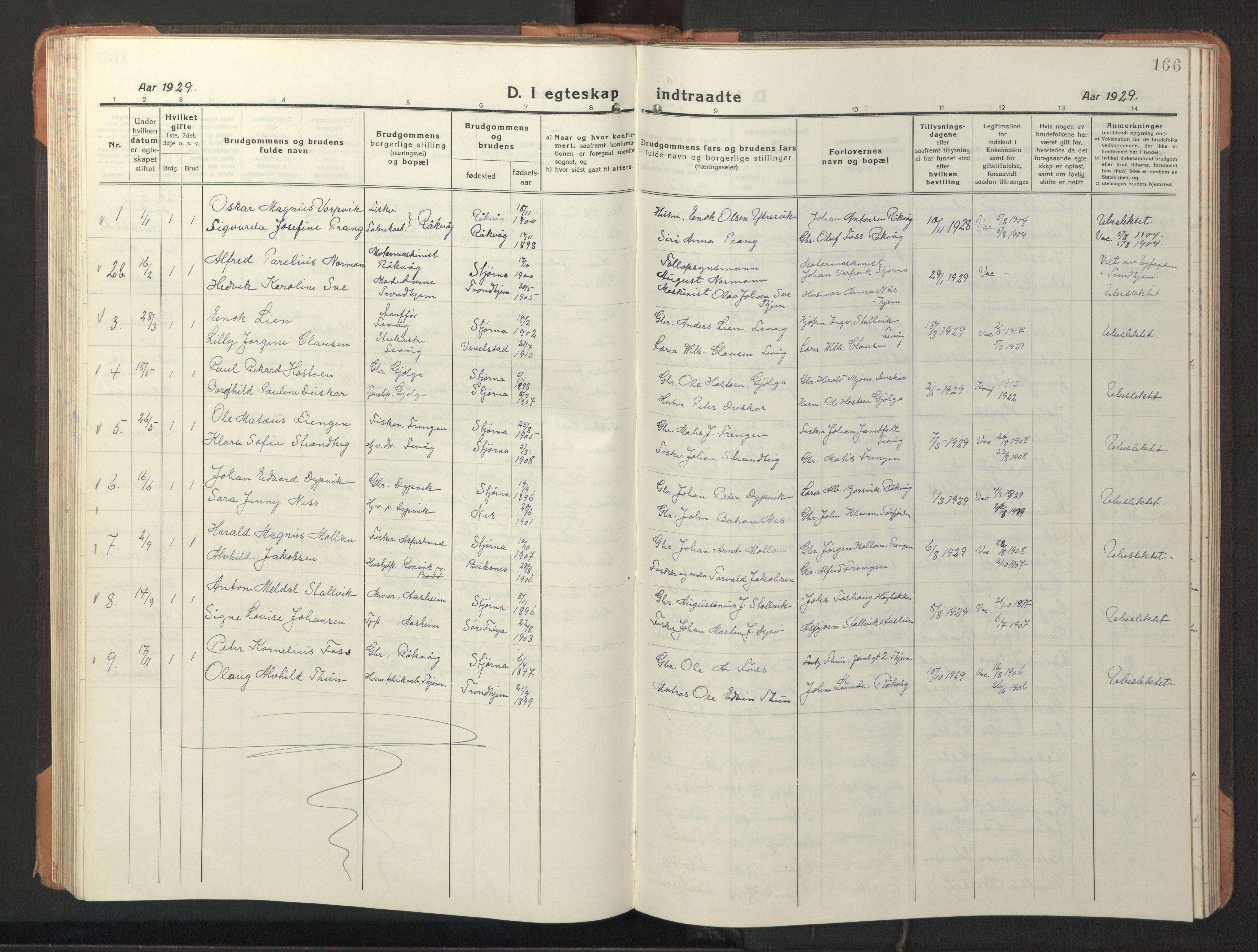 SAT, Ministerialprotokoller, klokkerbøker og fødselsregistre - Sør-Trøndelag, 653/L0658: Klokkerbok nr. 653C02, 1919-1947, s. 166
