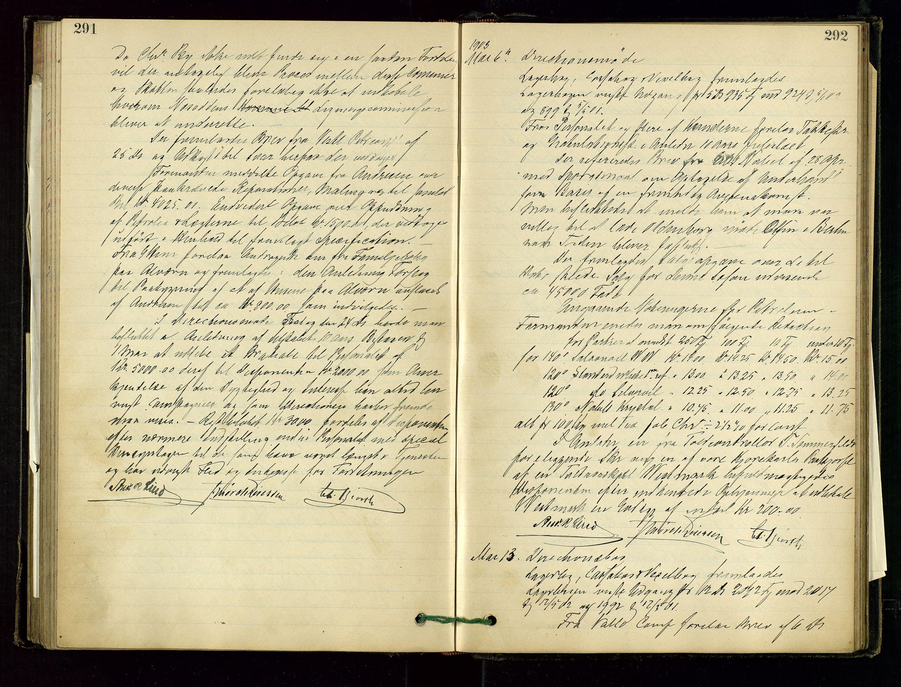 SAST, PA 1534 - Østlandske Petroleumscompagni A/S, A/Aa/L0001: Generalforsamlinger og direksjonsprotokoller., 1892-1905, s. 291-292