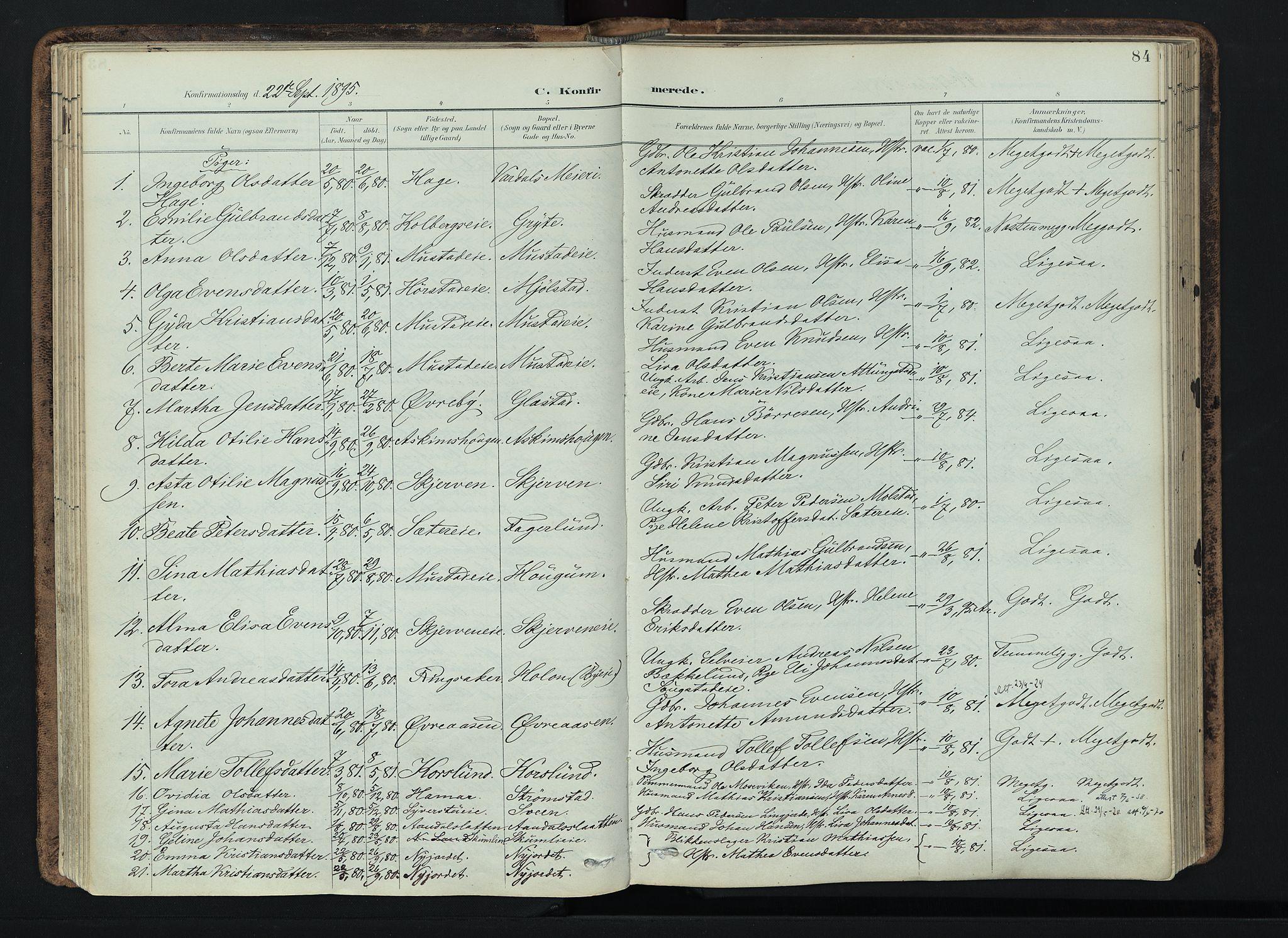 SAH, Vardal prestekontor, H/Ha/Haa/L0019: Ministerialbok nr. 19, 1893-1907, s. 84
