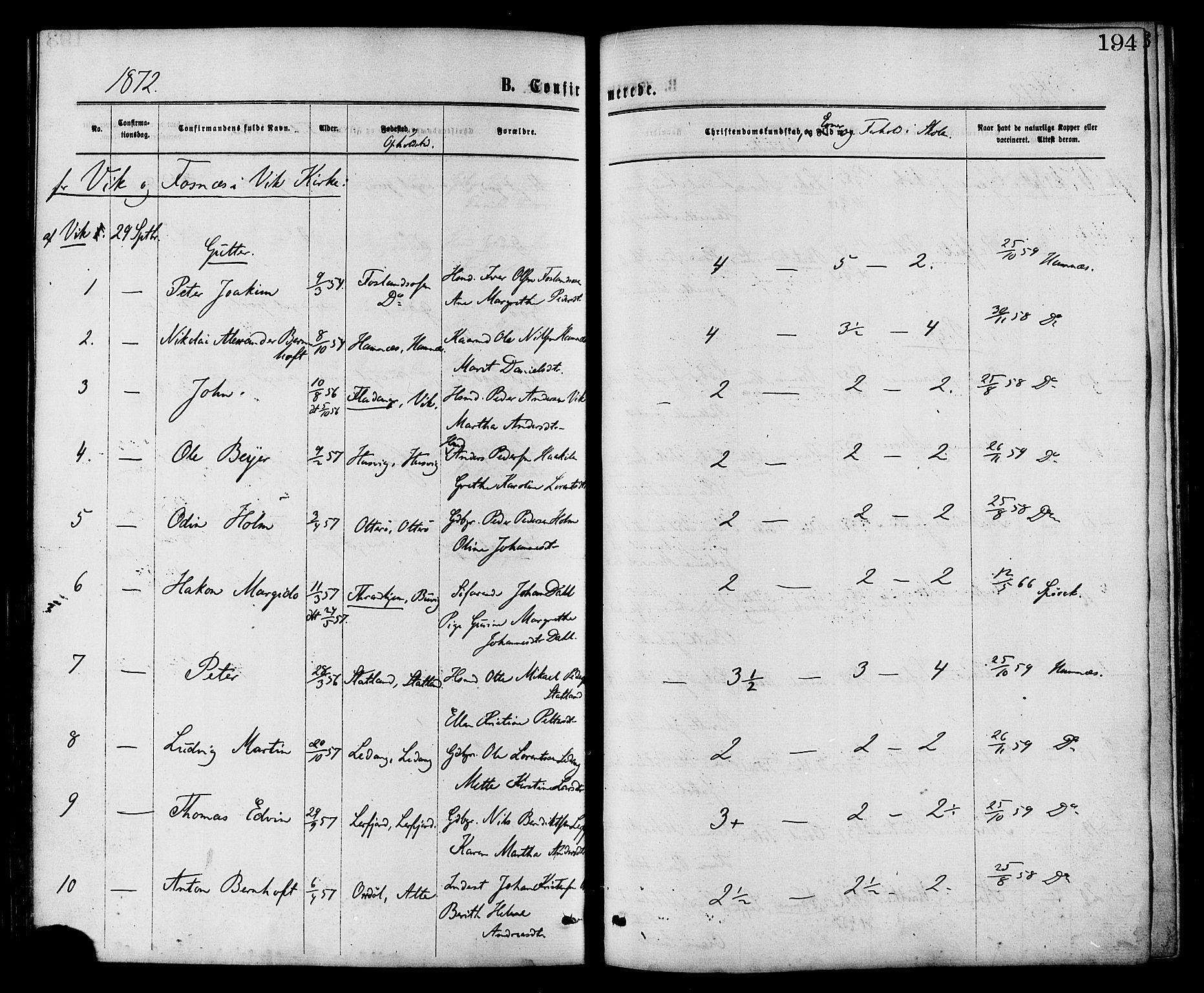 SAT, Ministerialprotokoller, klokkerbøker og fødselsregistre - Nord-Trøndelag, 773/L0616: Ministerialbok nr. 773A07, 1870-1887, s. 194