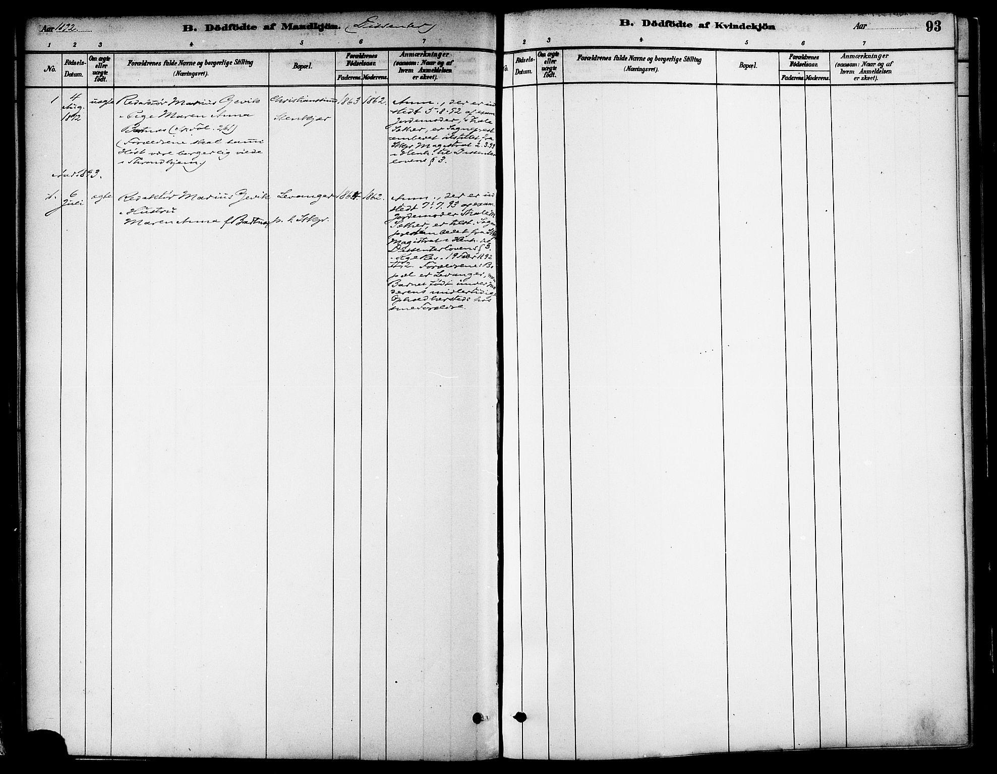 SAT, Ministerialprotokoller, klokkerbøker og fødselsregistre - Nord-Trøndelag, 739/L0371: Ministerialbok nr. 739A03, 1881-1895, s. 93