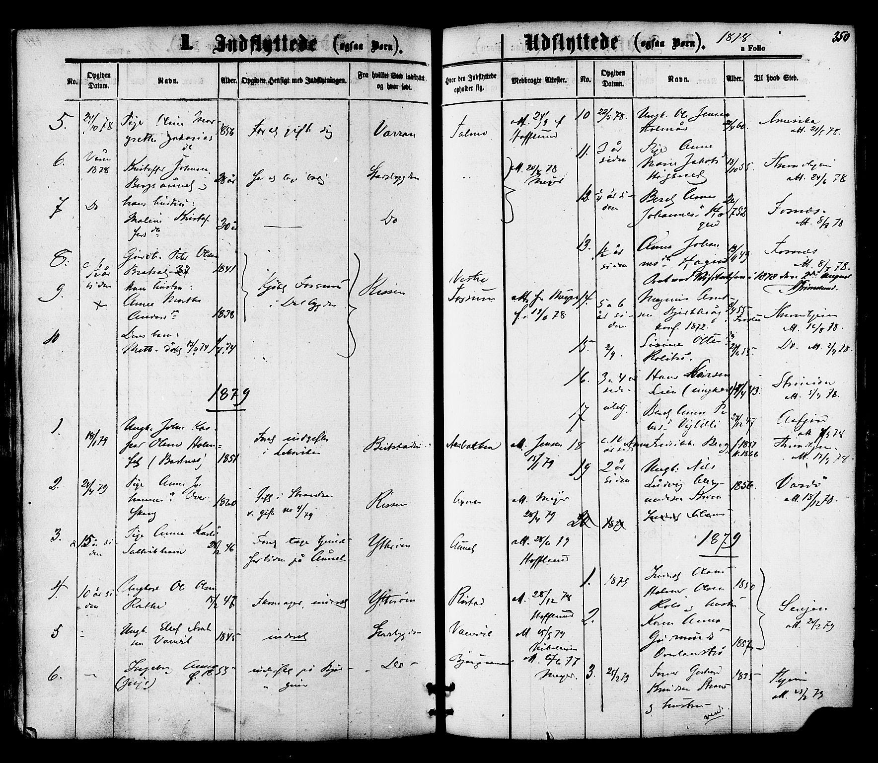 SAT, Ministerialprotokoller, klokkerbøker og fødselsregistre - Nord-Trøndelag, 701/L0009: Ministerialbok nr. 701A09 /1, 1864-1882, s. 350