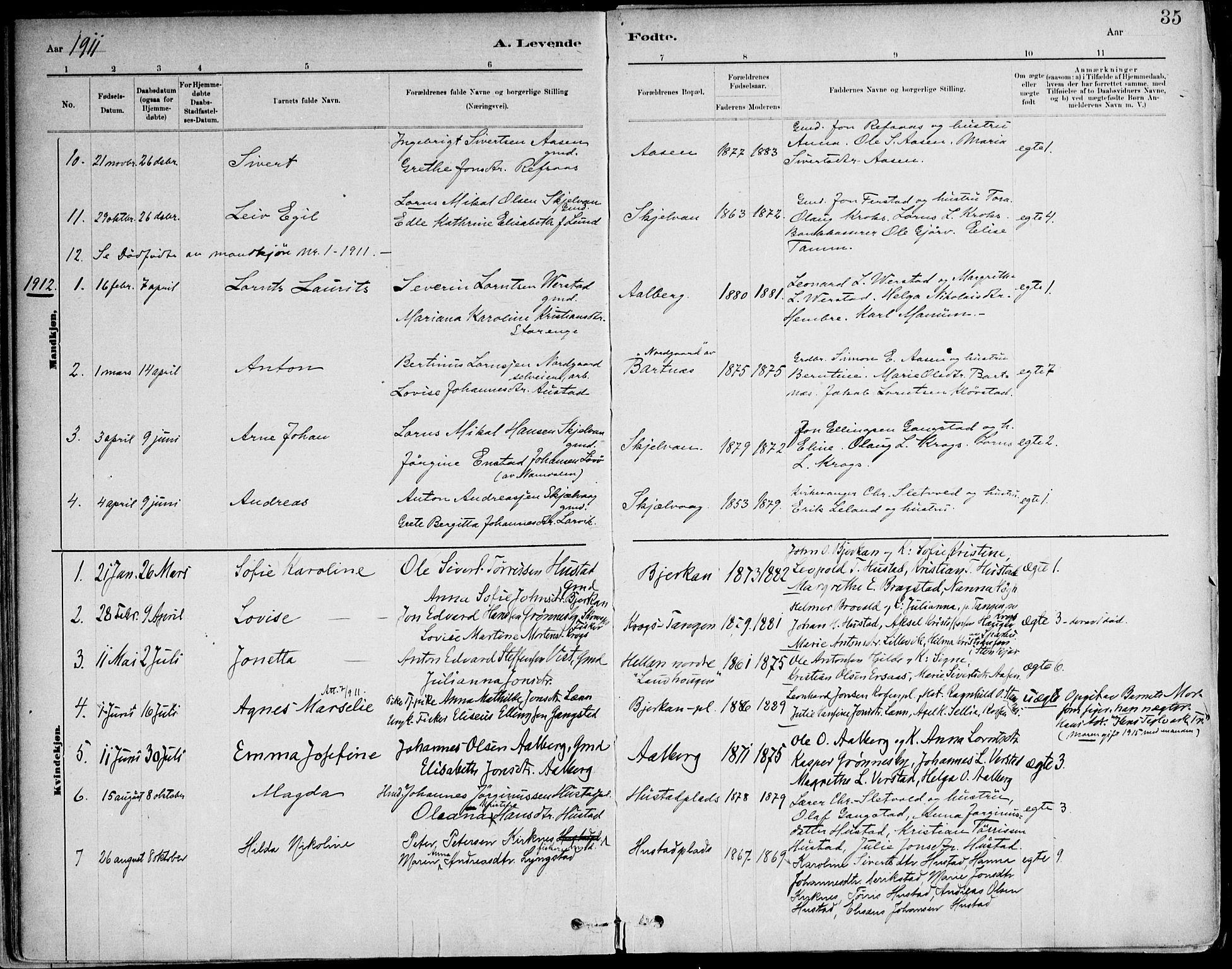 SAT, Ministerialprotokoller, klokkerbøker og fødselsregistre - Nord-Trøndelag, 732/L0316: Ministerialbok nr. 732A01, 1879-1921, s. 35