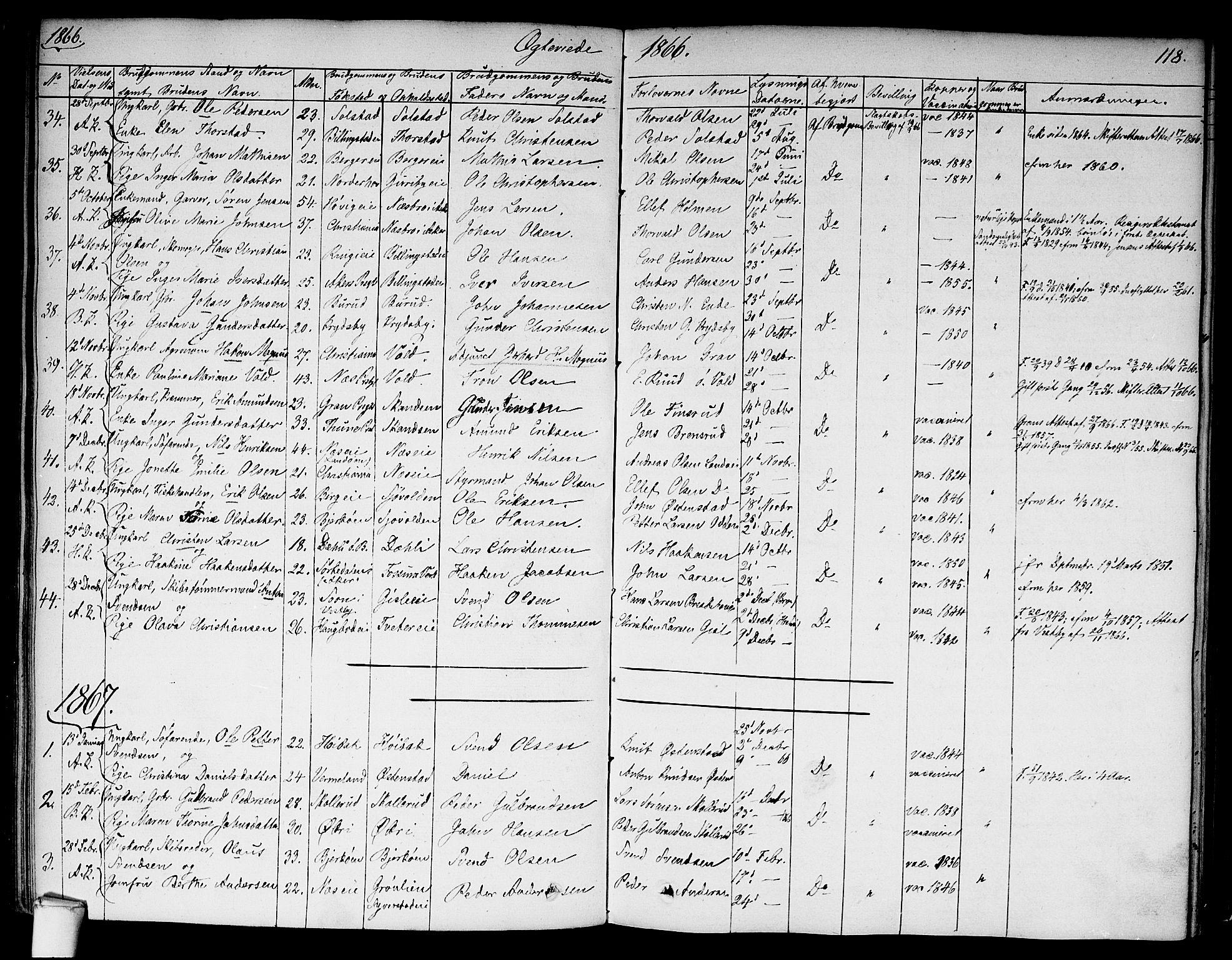 SAO, Asker prestekontor Kirkebøker, F/Fa/L0010: Ministerialbok nr. I 10, 1825-1878, s. 118