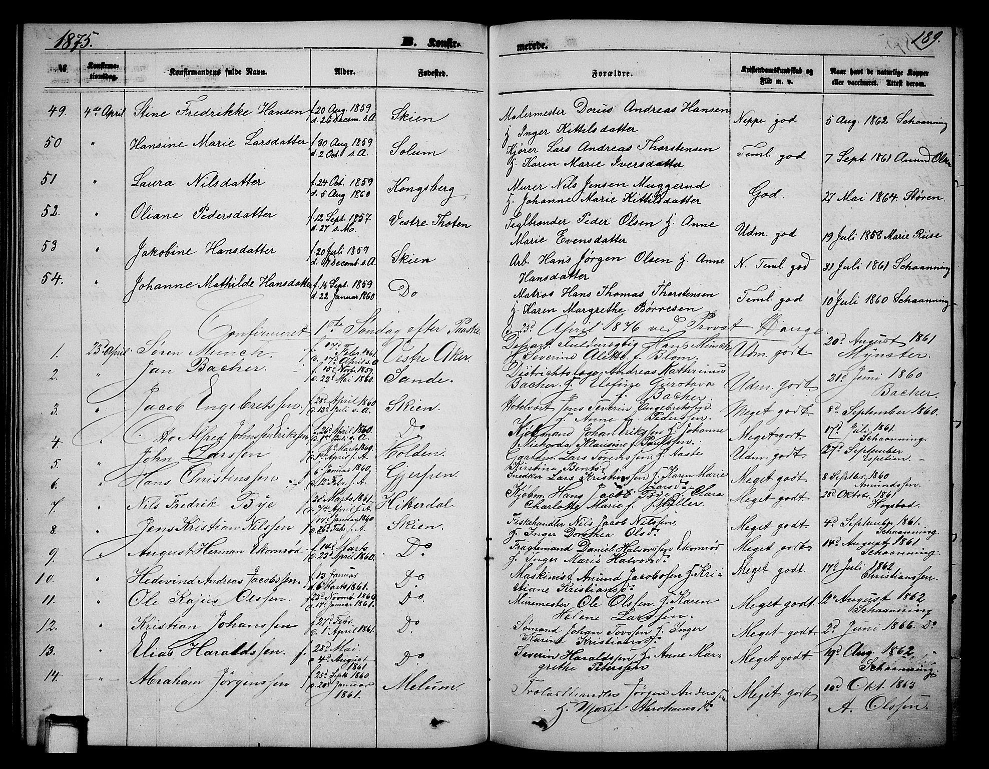 SAKO, Skien kirkebøker, G/Ga/L0005: Klokkerbok nr. 5, 1868-1880, s. 189