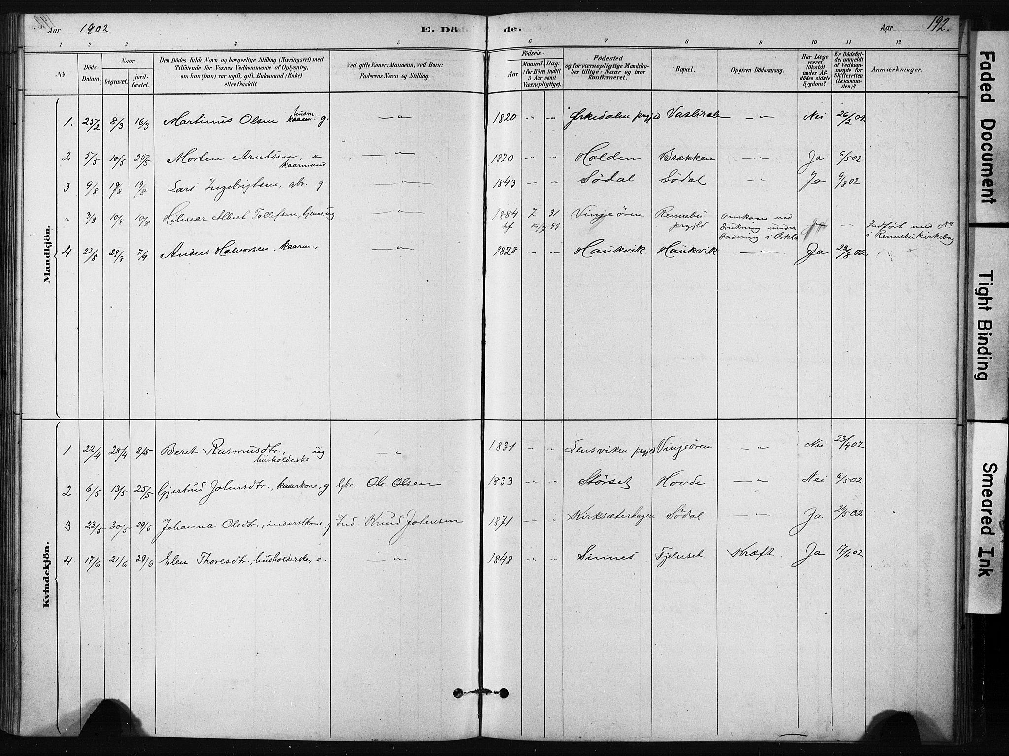 SAT, Ministerialprotokoller, klokkerbøker og fødselsregistre - Sør-Trøndelag, 631/L0512: Ministerialbok nr. 631A01, 1879-1912, s. 192