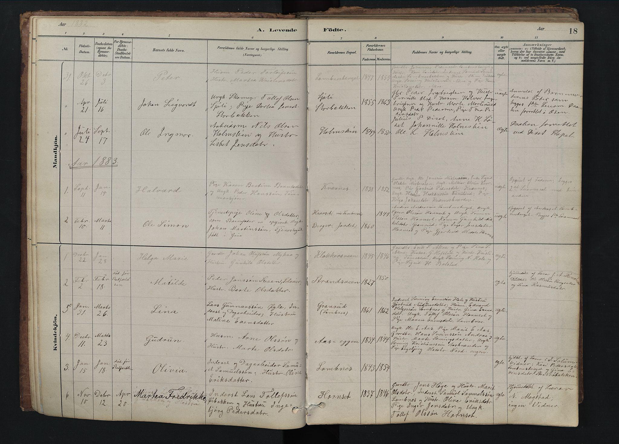 SAH, Rendalen prestekontor, H/Ha/Hab/L0009: Klokkerbok nr. 9, 1879-1902, s. 18