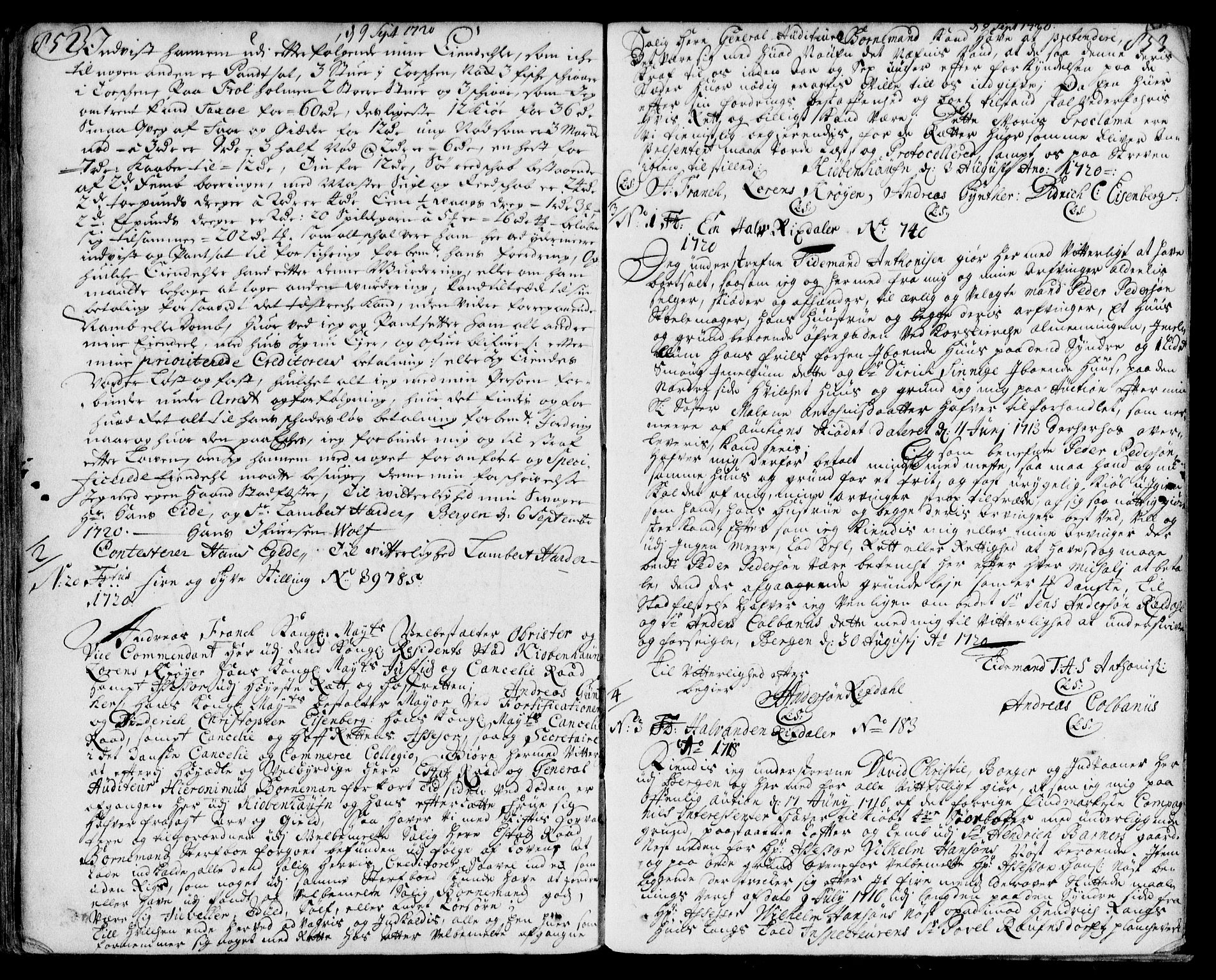 SAB, Byfogd og Byskriver i Bergen, 03/03Ba/L0008a: Pantebok nr. II.B.a.8, 1714-1720, s. 852-853