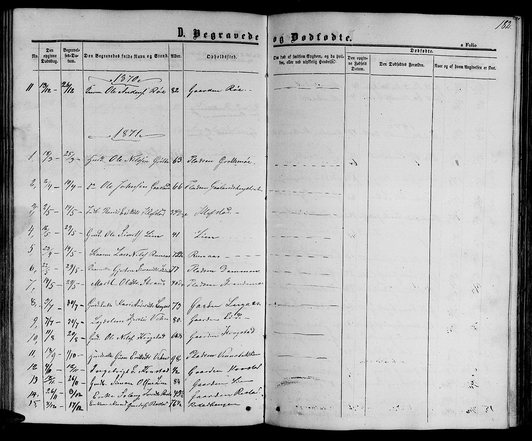 SAT, Ministerialprotokoller, klokkerbøker og fødselsregistre - Sør-Trøndelag, 694/L1131: Klokkerbok nr. 694C03, 1858-1886, s. 182