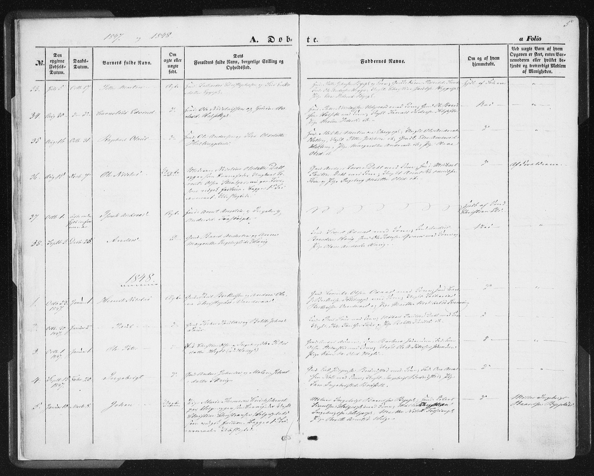 SAT, Ministerialprotokoller, klokkerbøker og fødselsregistre - Nord-Trøndelag, 746/L0446: Ministerialbok nr. 746A05, 1846-1859, s. 5