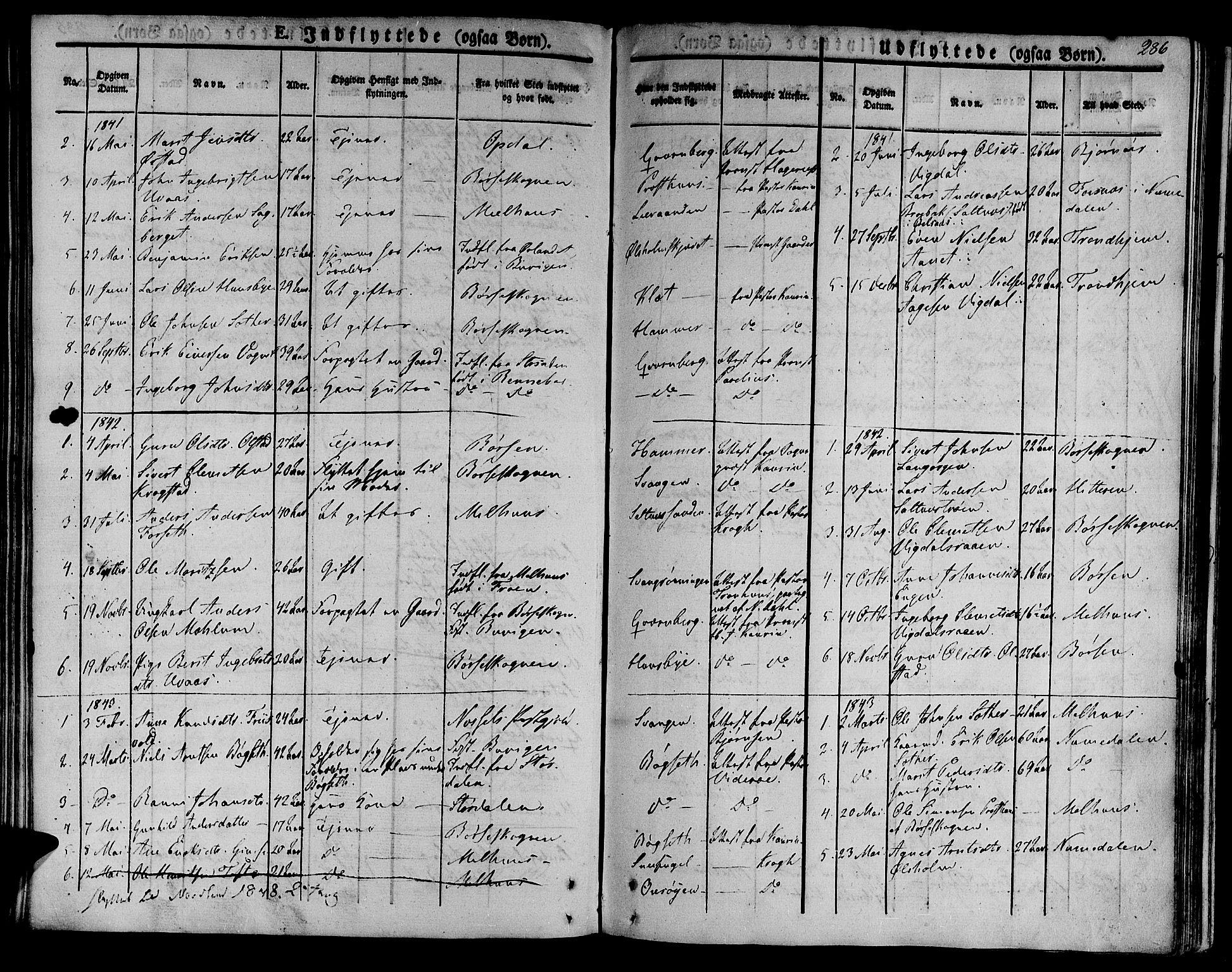 SAT, Ministerialprotokoller, klokkerbøker og fødselsregistre - Sør-Trøndelag, 612/L0375: Ministerialbok nr. 612A07 /2, 1829-1845, s. 286