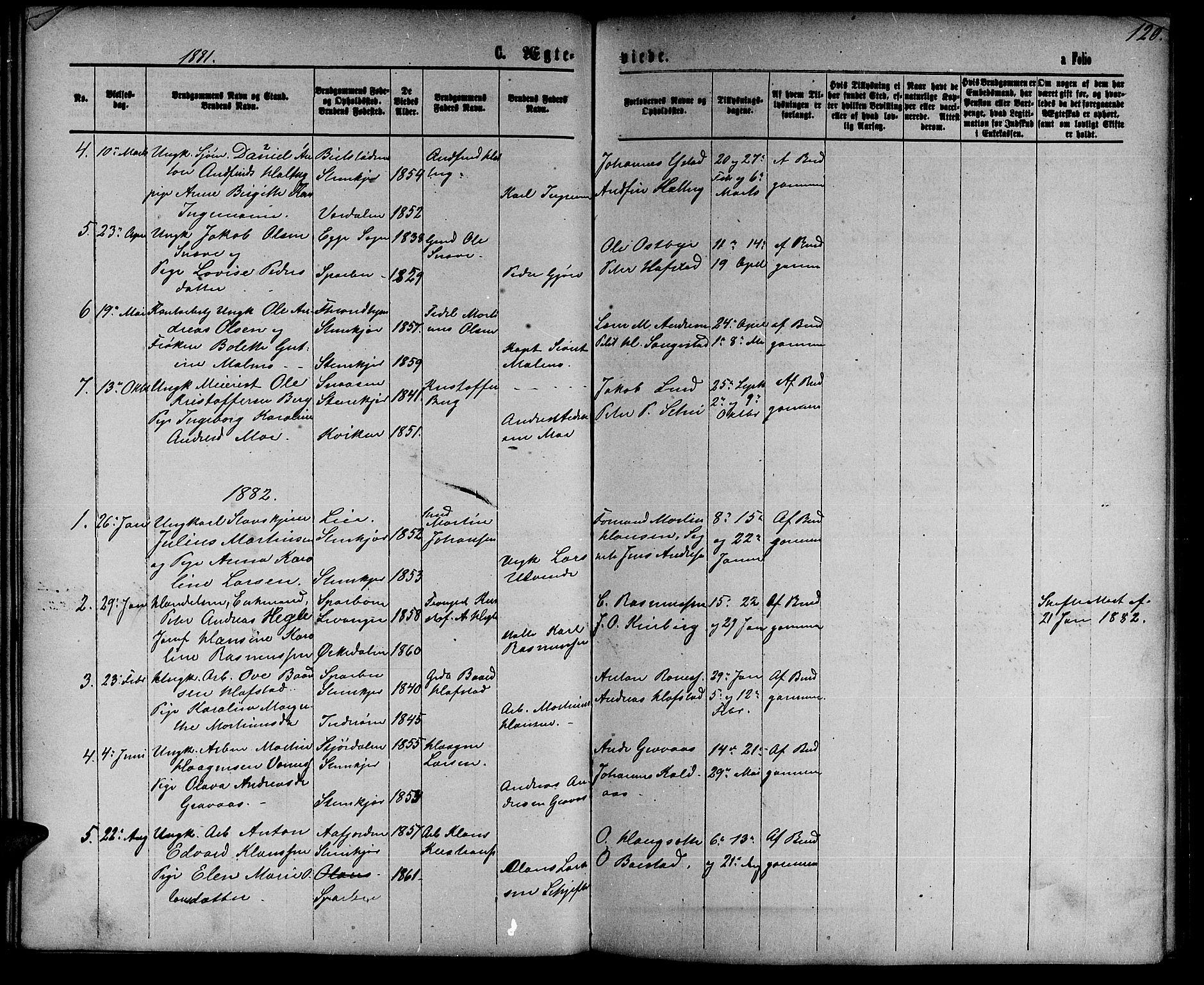 SAT, Ministerialprotokoller, klokkerbøker og fødselsregistre - Nord-Trøndelag, 739/L0373: Klokkerbok nr. 739C01, 1865-1882, s. 120