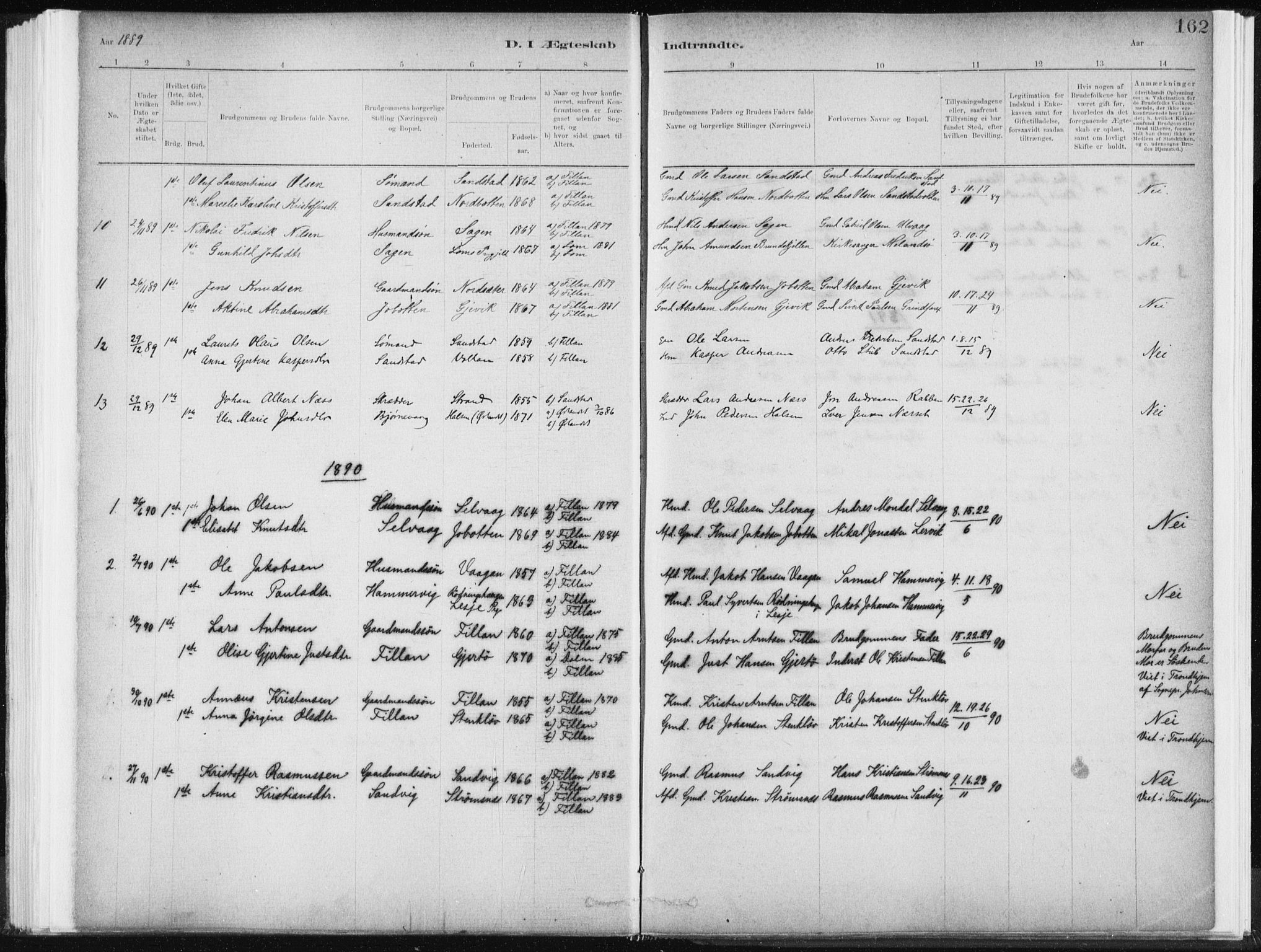 SAT, Ministerialprotokoller, klokkerbøker og fødselsregistre - Sør-Trøndelag, 637/L0558: Ministerialbok nr. 637A01, 1882-1899, s. 162