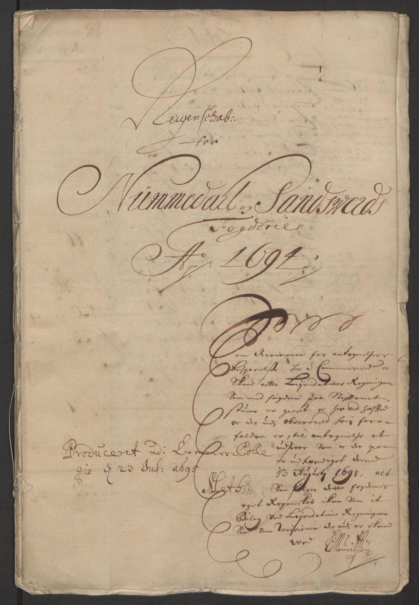 RA, Rentekammeret inntil 1814, Reviderte regnskaper, Fogderegnskap, R24/L1575: Fogderegnskap Numedal og Sandsvær, 1692-1695, s. 28