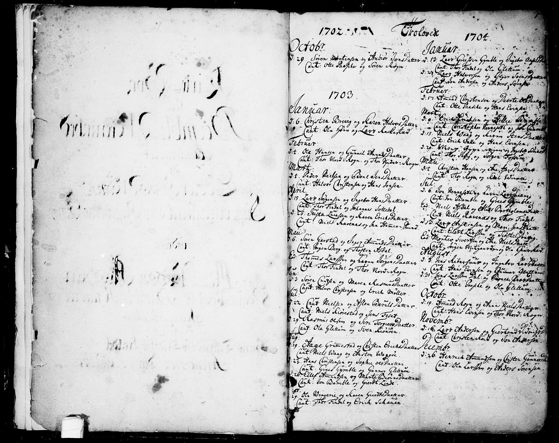 SAKO, Bamble kirkebøker, F/Fa/L0001: Ministerialbok nr. I 1, 1702-1774, s. 0-1