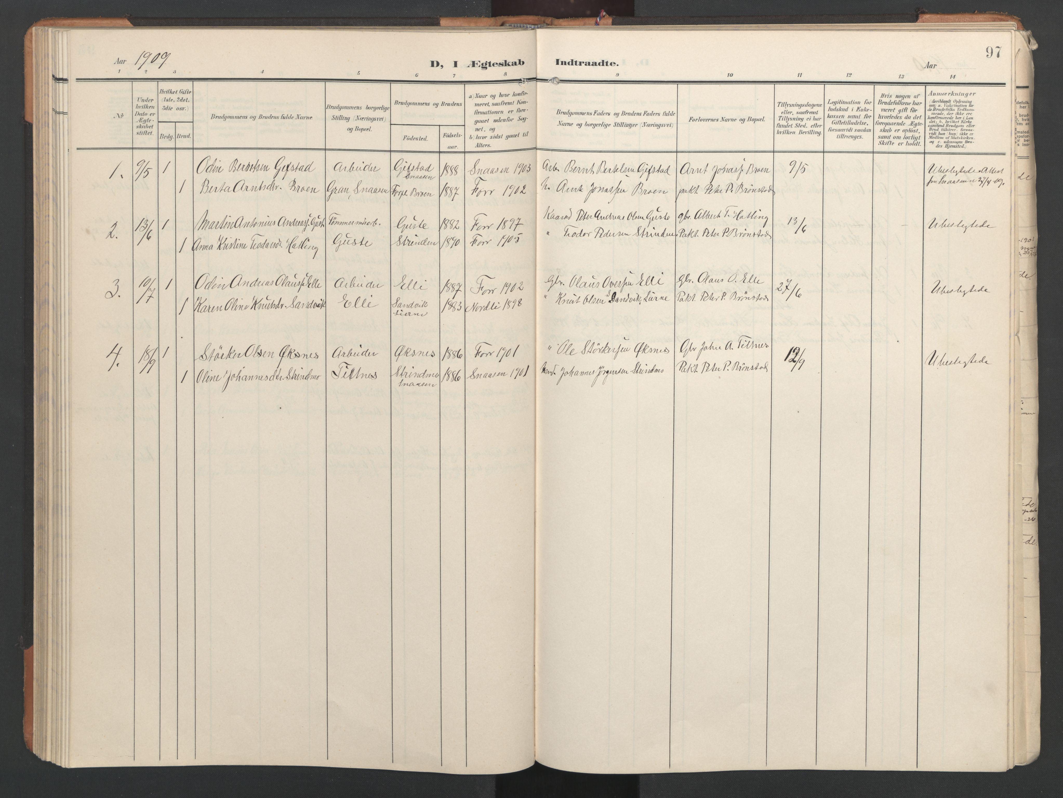 SAT, Ministerialprotokoller, klokkerbøker og fødselsregistre - Nord-Trøndelag, 746/L0455: Klokkerbok nr. 746C01, 1908-1933, s. 97