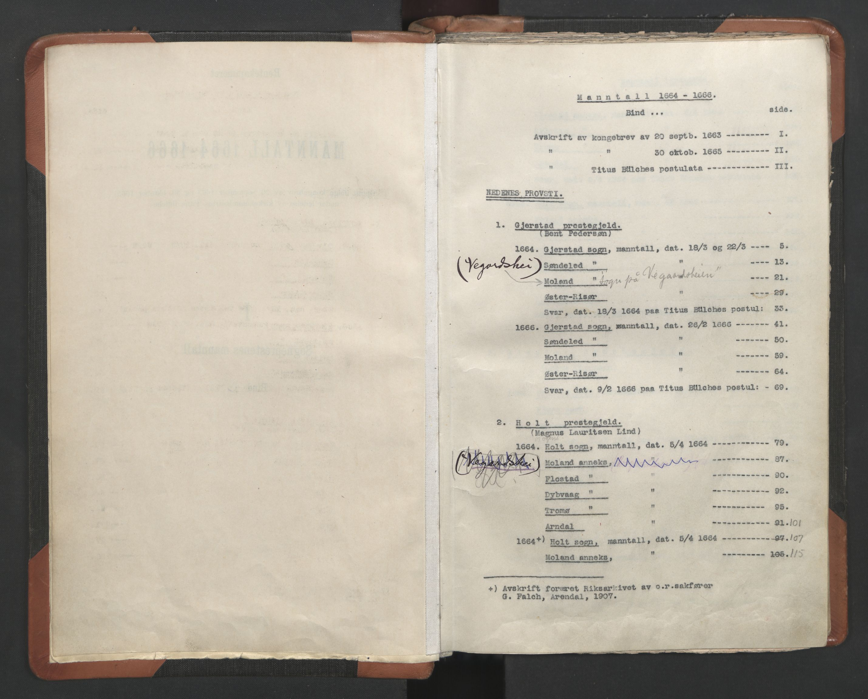 RA, Sogneprestenes manntall 1664-1666, nr. 13: Nedenes prosti, 1664-1666, s. upaginert
