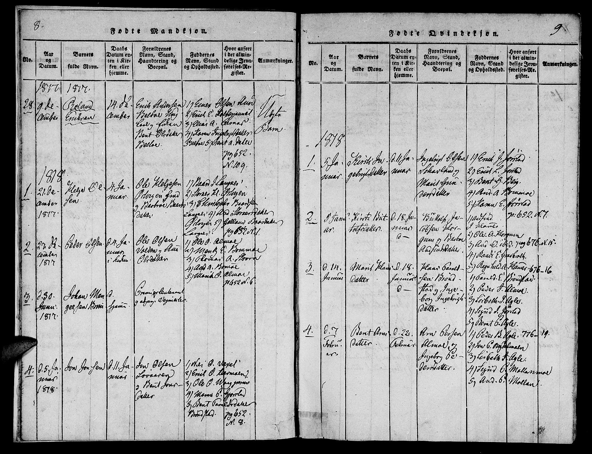 SAT, Ministerialprotokoller, klokkerbøker og fødselsregistre - Nord-Trøndelag, 749/L0479: Klokkerbok nr. 749C01, 1817-1829, s. 8-9